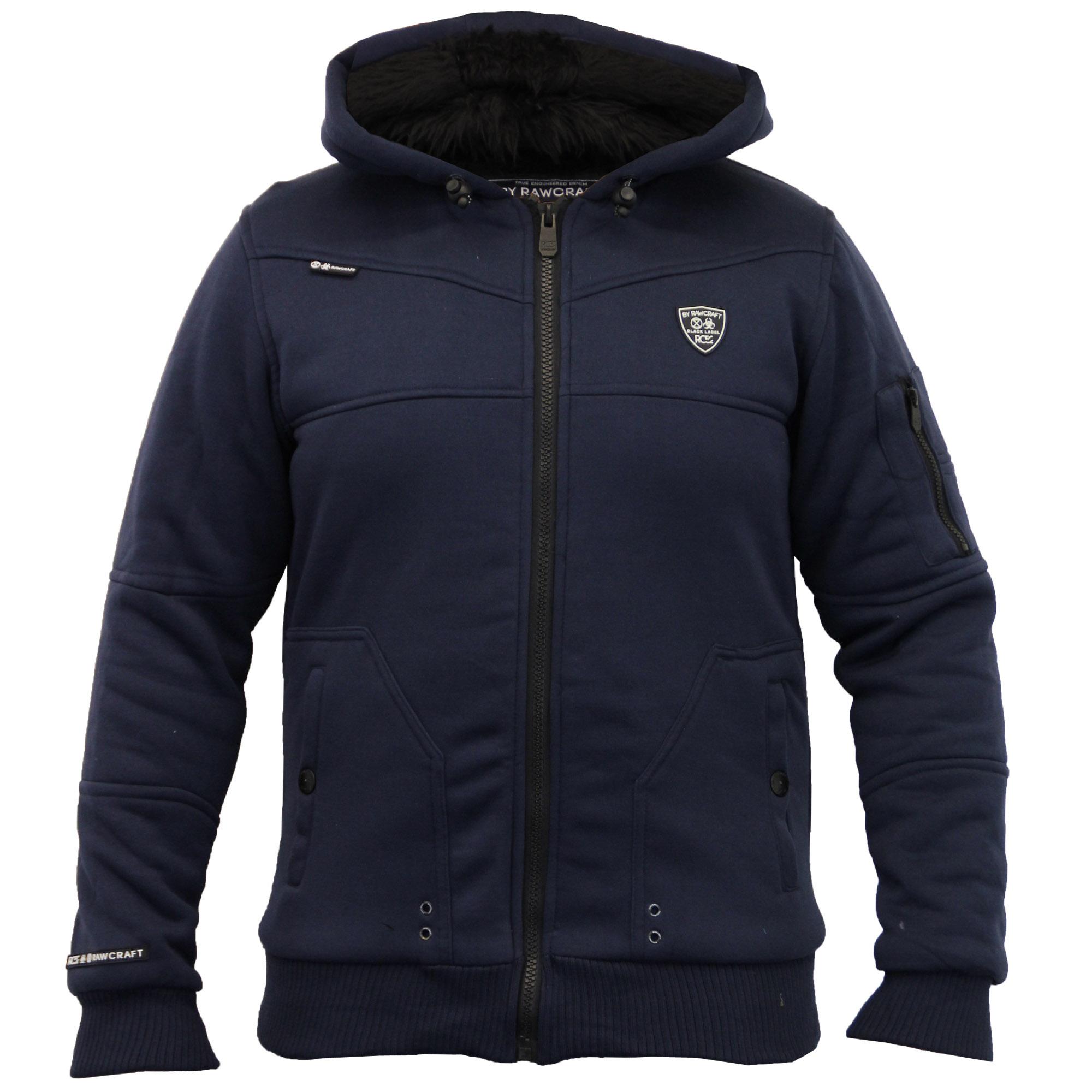 Mens Jacket Rawcraft Sweat Coat Hooded Top Zip Fur Lined ...