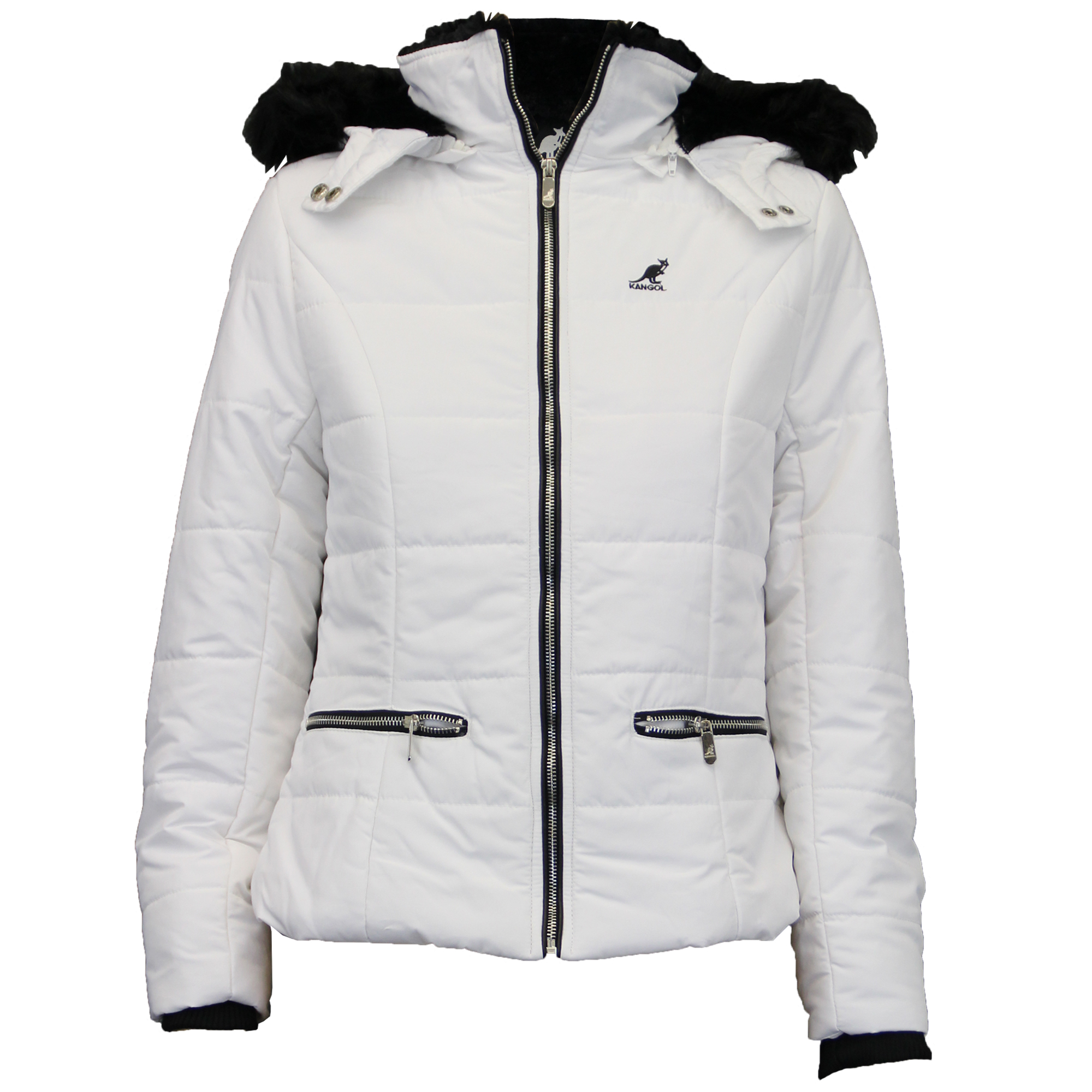 Ladies Jacket Kangol Coat Quilted Padded Hooded Fur Lined Zip ...