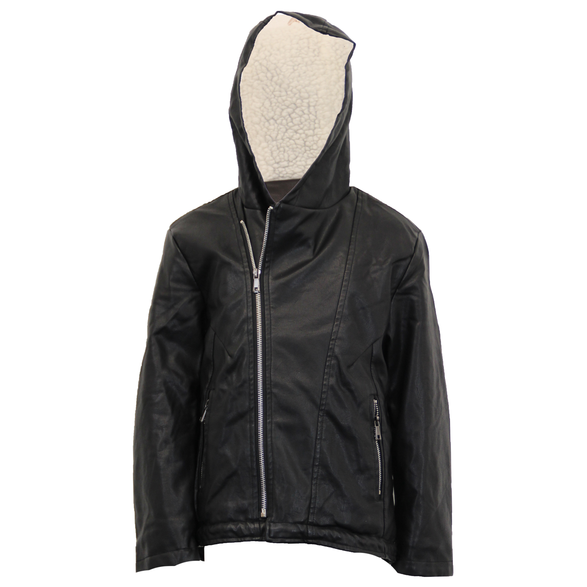 Boys Leather Look PVC Jacket Kids Padded Sherpa Fleece Hooded Fish Tail Winter