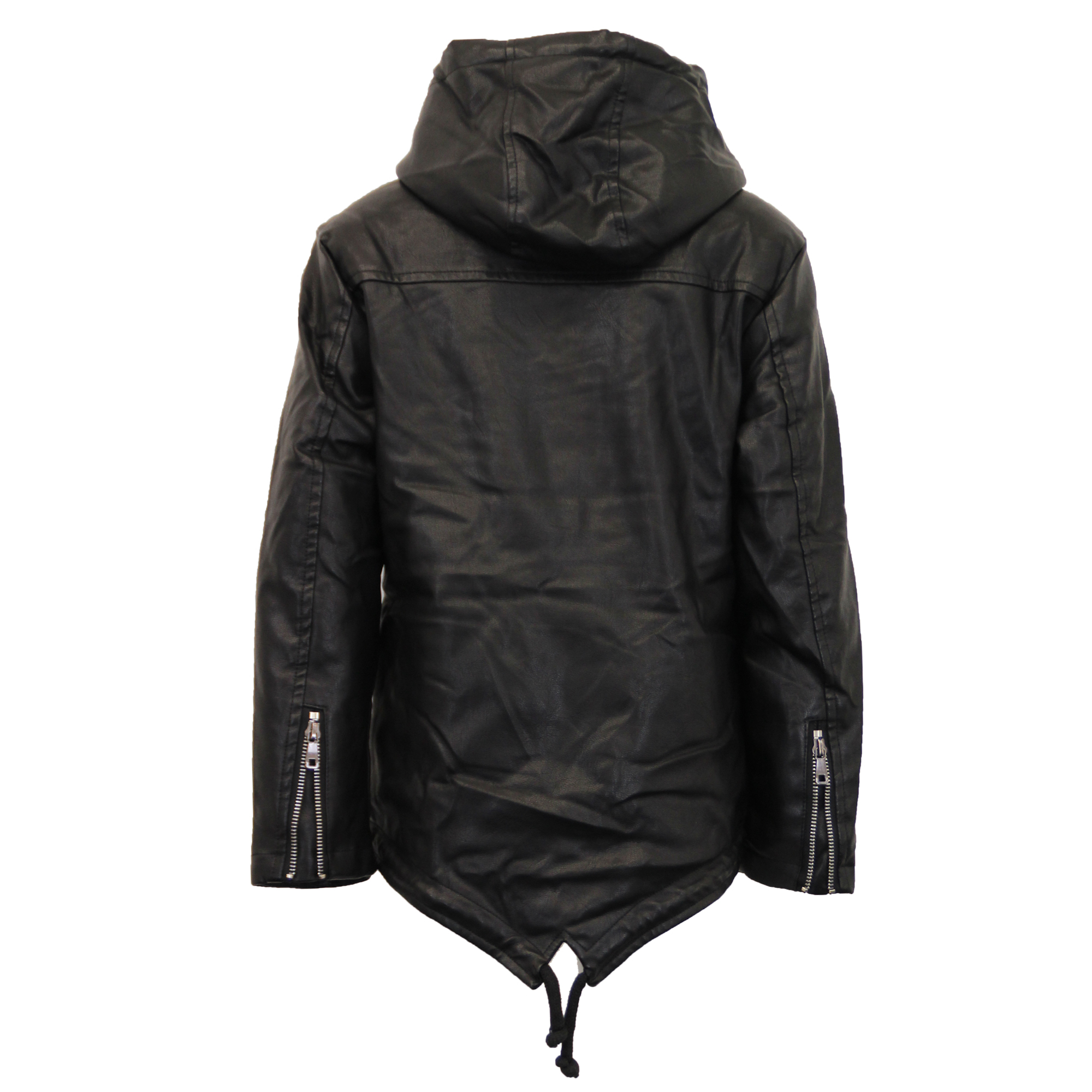 Boys leather look pvc jacket kids padded sherpa fleece for Leather jacket fish