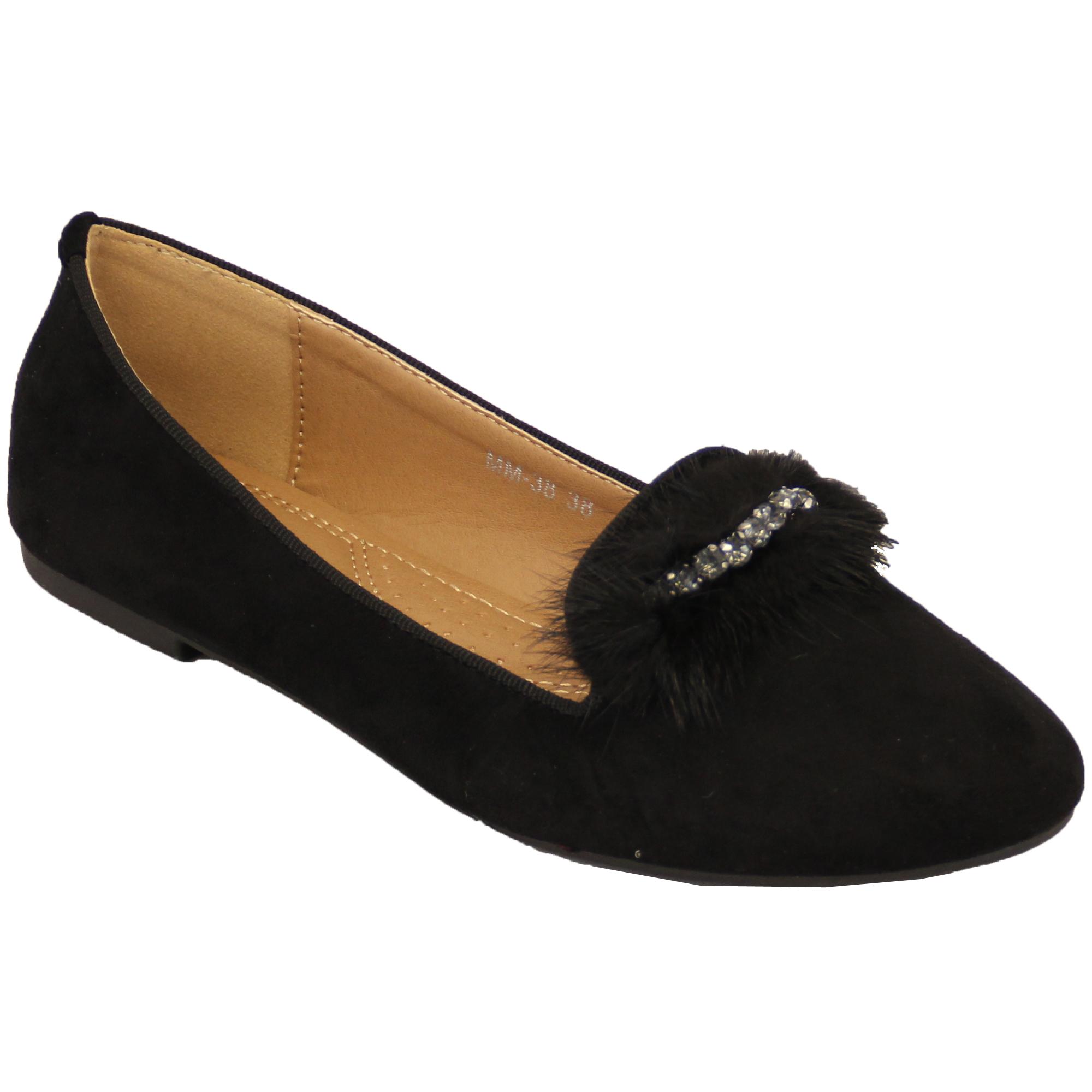 ballerina shoes womens suede look diamante flat