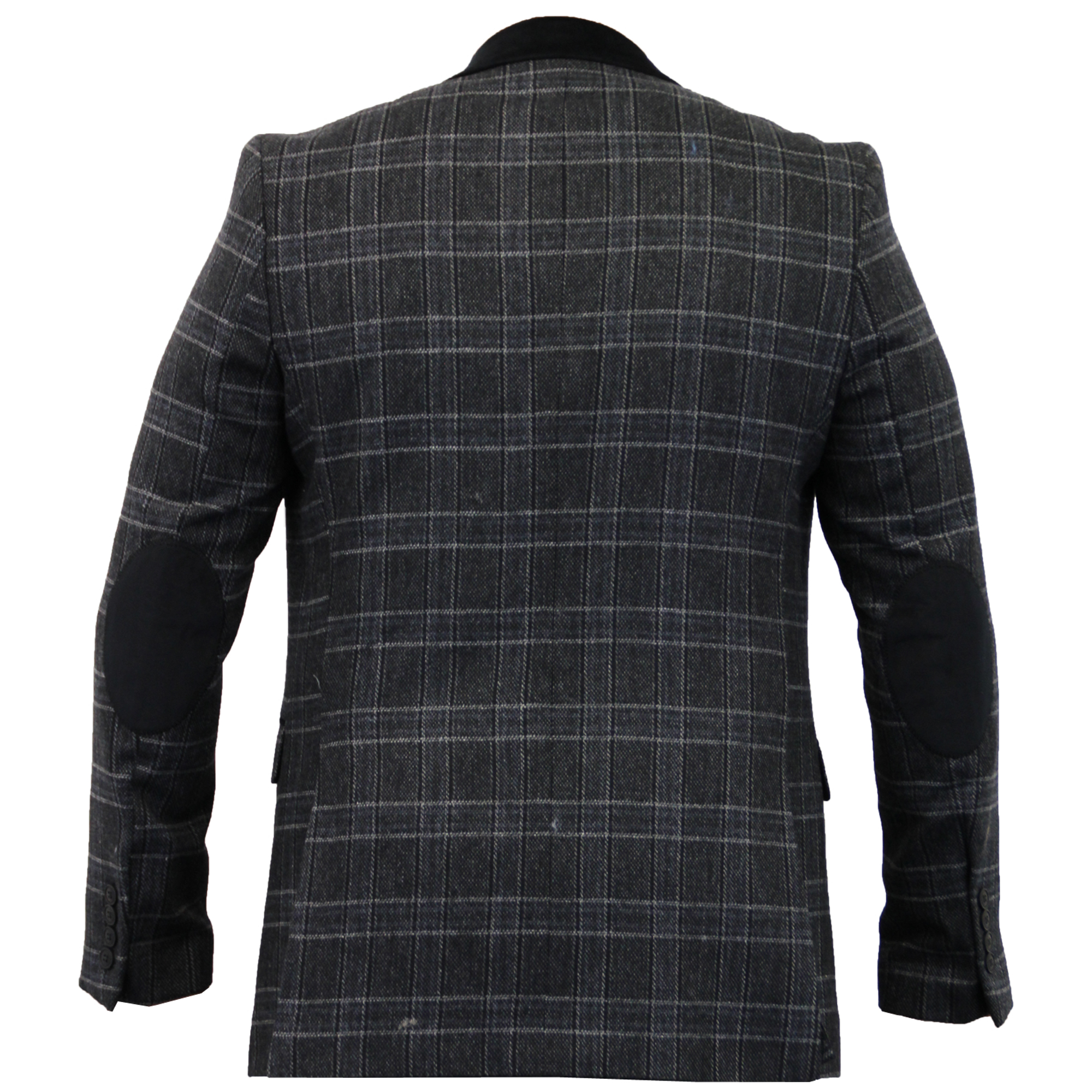 mens checked blazer herringbone tweed jacket coat thomson richard velvet patch ebay. Black Bedroom Furniture Sets. Home Design Ideas