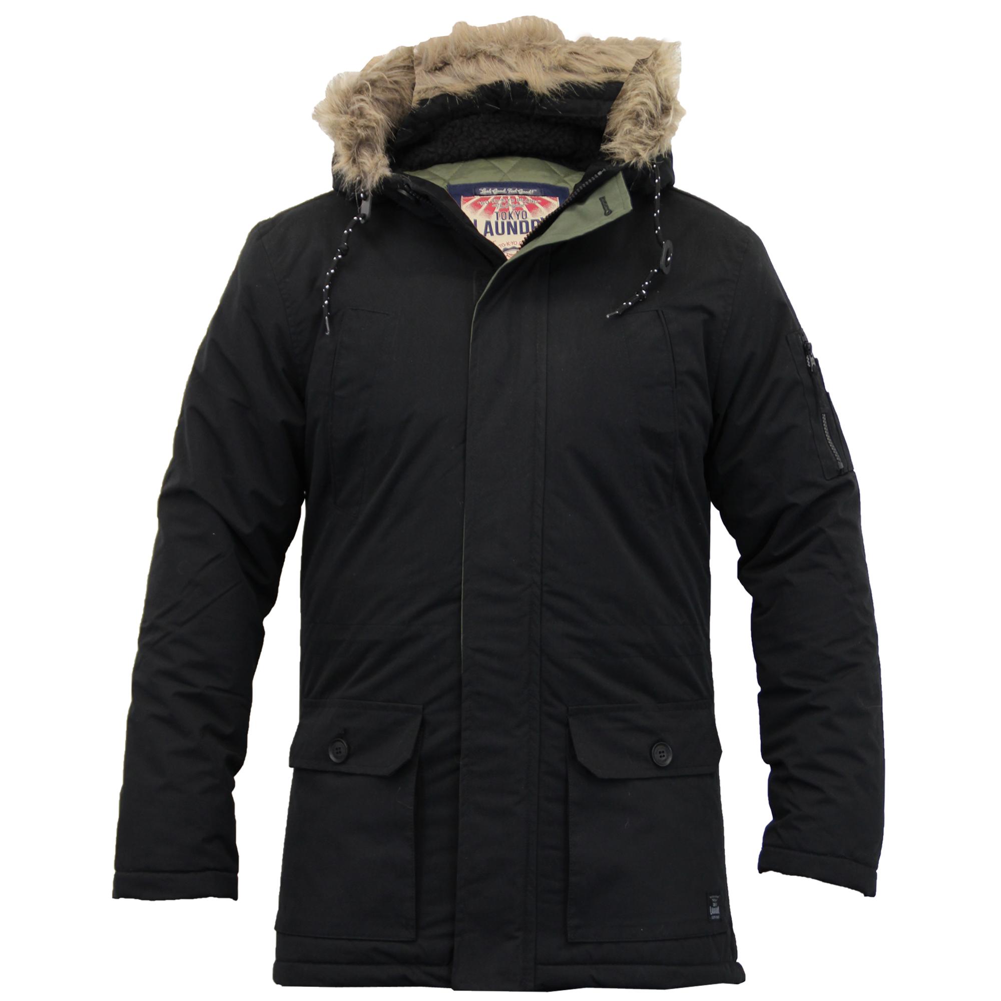 Mens Jacket Tokyo Laundry Parka Coat Hooded Sherpa Lined Heavy ...