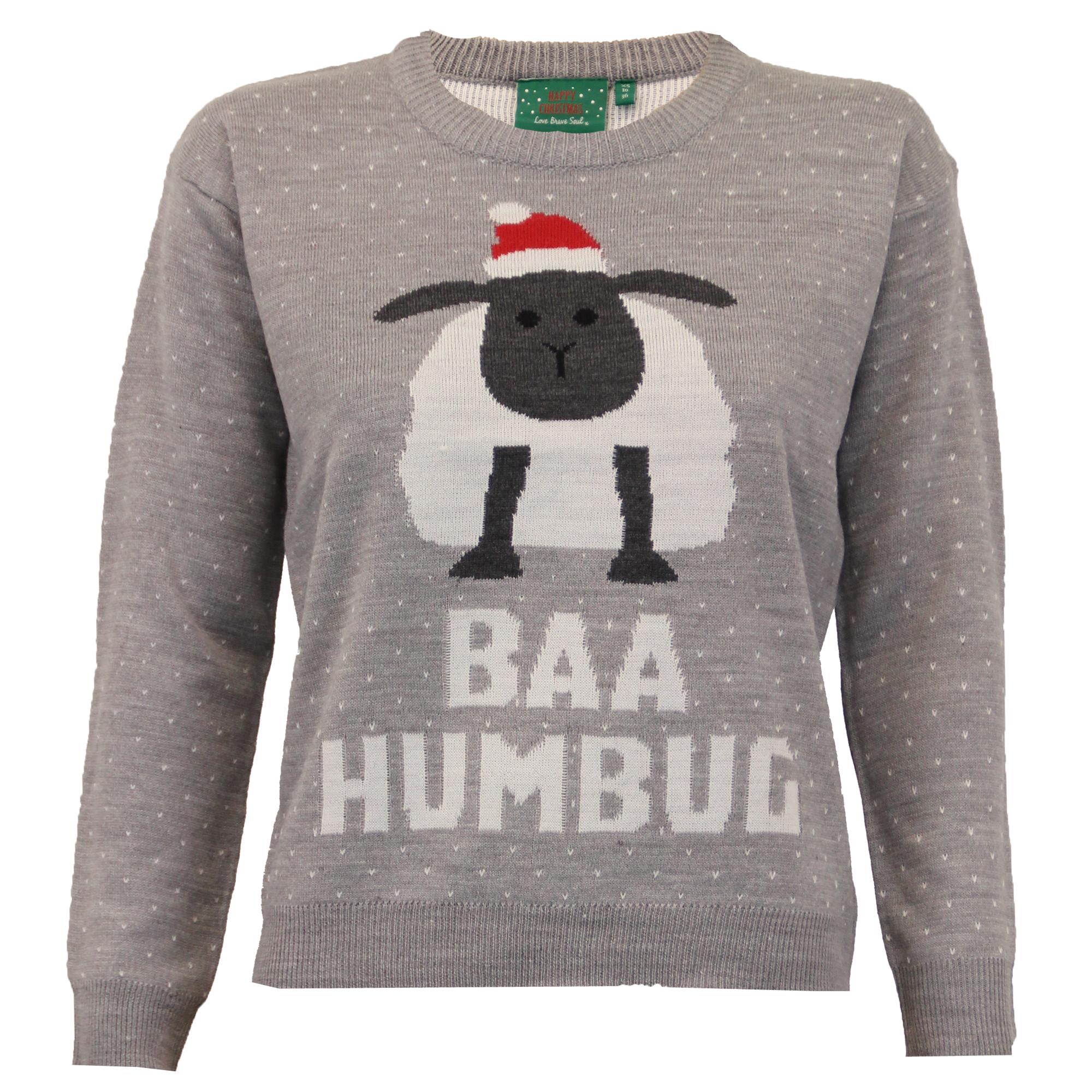 Ladies Christmas Jumper Brave Soul Womens Xmas Knitted 3D Sheep Polar Bear ...