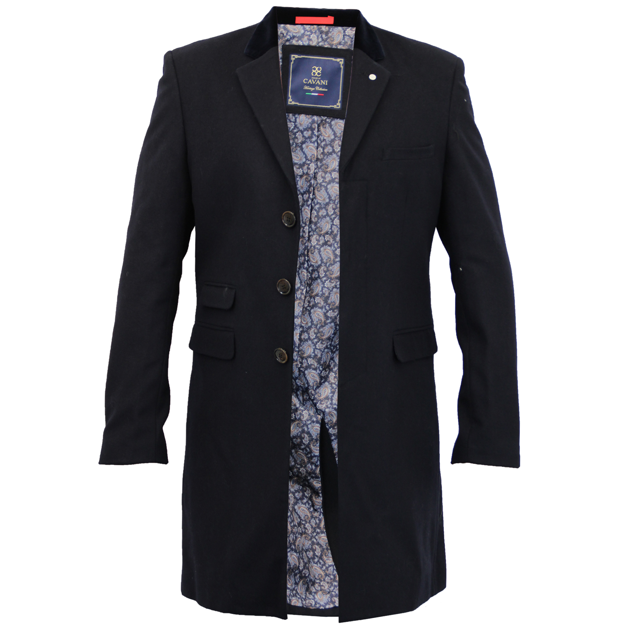 Mens Wool Mix Jacket Cavani Long Trench Coat Slim Fit