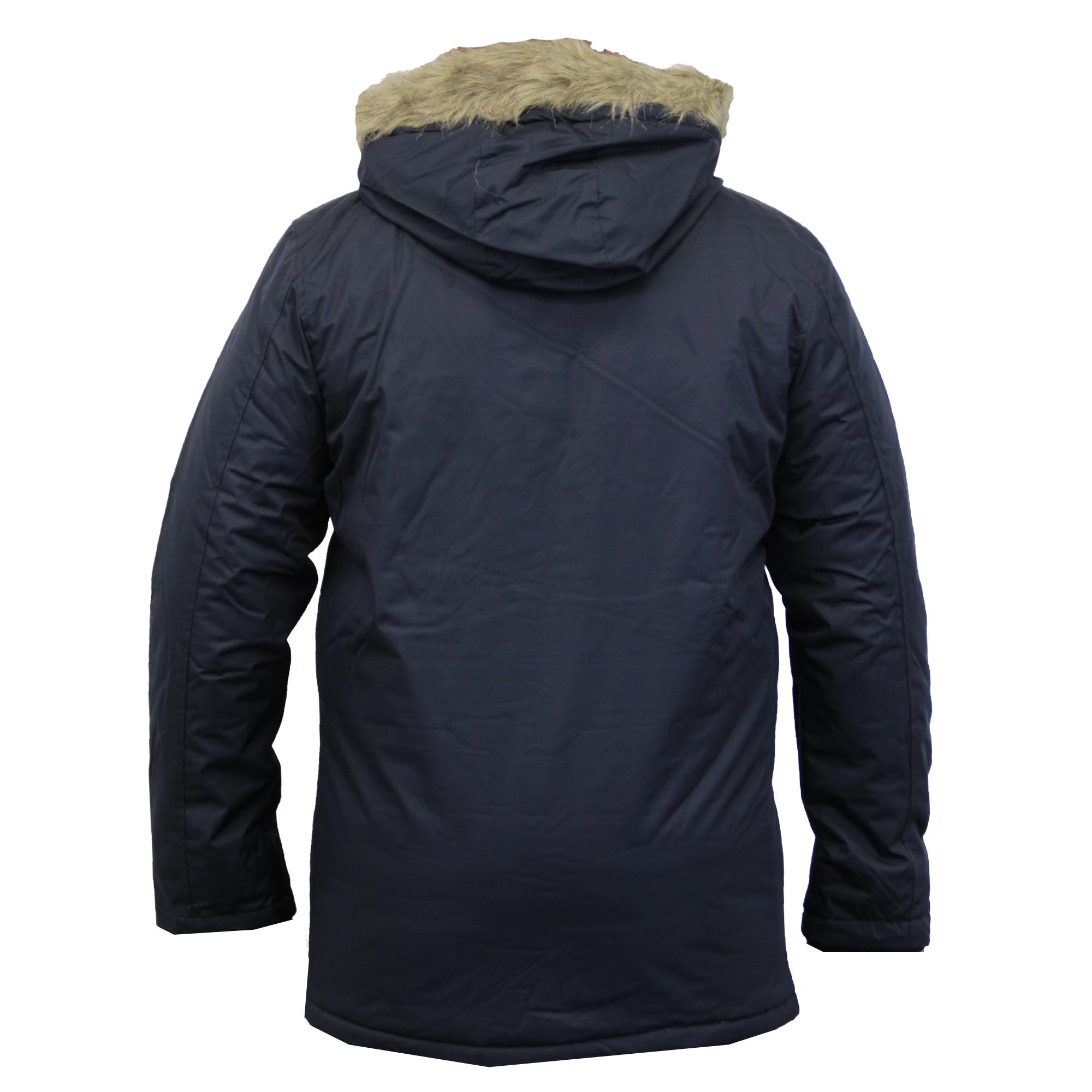 Mens jacket lined with fur - Mens Jacket Parka Coat Brave Soul Padded Hooded