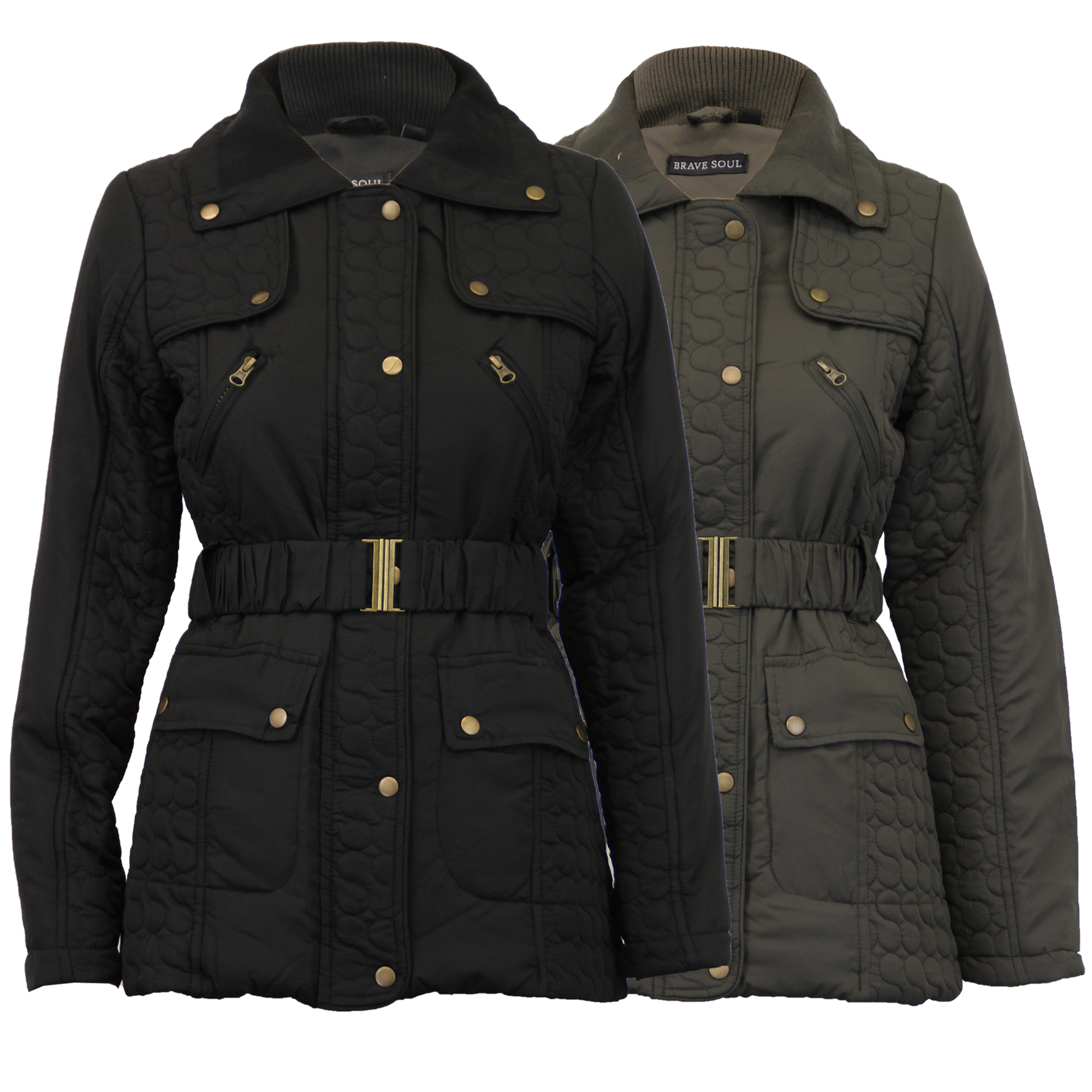 Ladies Jacket Brave Soul Womens Coat Quilted Padded Belt Lined ...