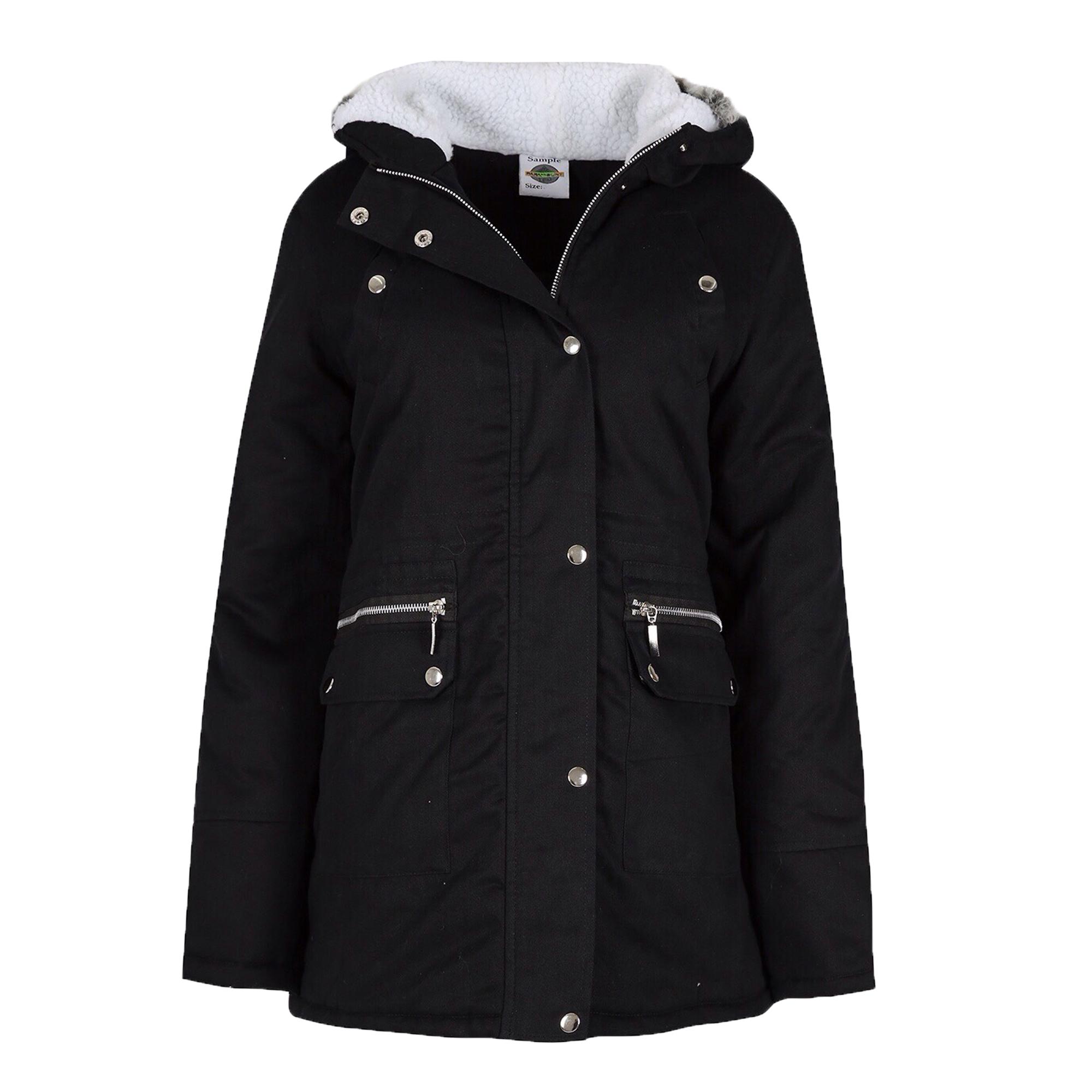 Ladies Parka Jacket Womens Coat Padded Hooded Fur Sherpa