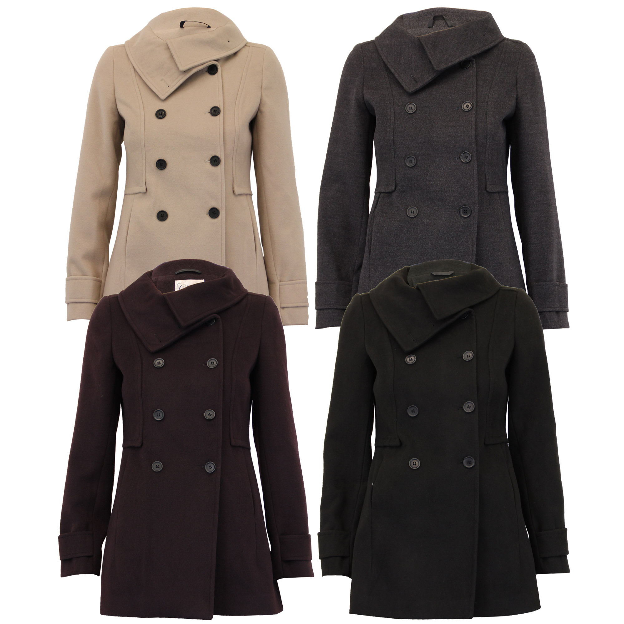 Ladies Wool Look Coat Womens Jacket Double Breasted Outerwear Trench Winter New | EBay