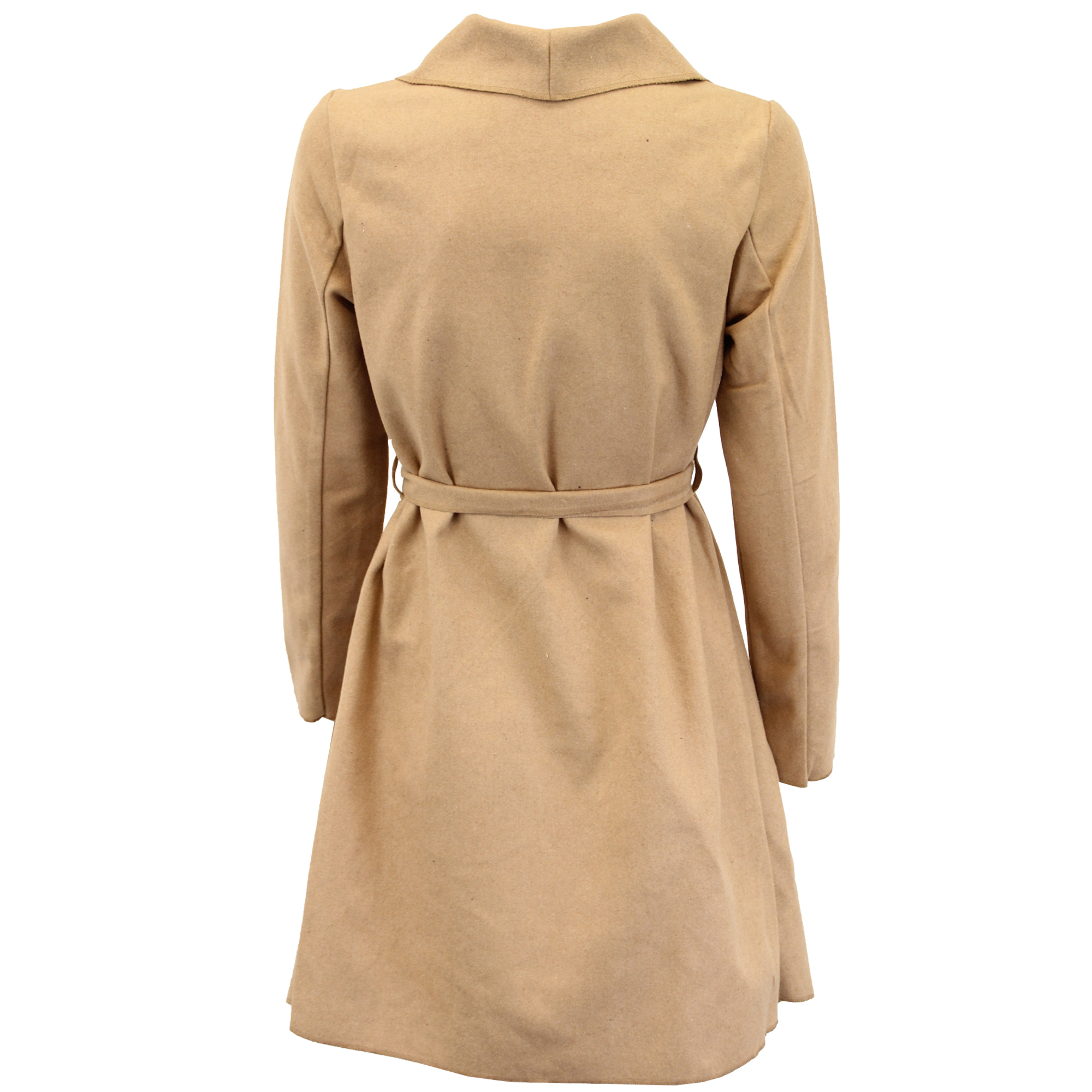 Ladies Jacket Brave Soul Womens Coat Wool Mix Open Front Belt Casual Winter New