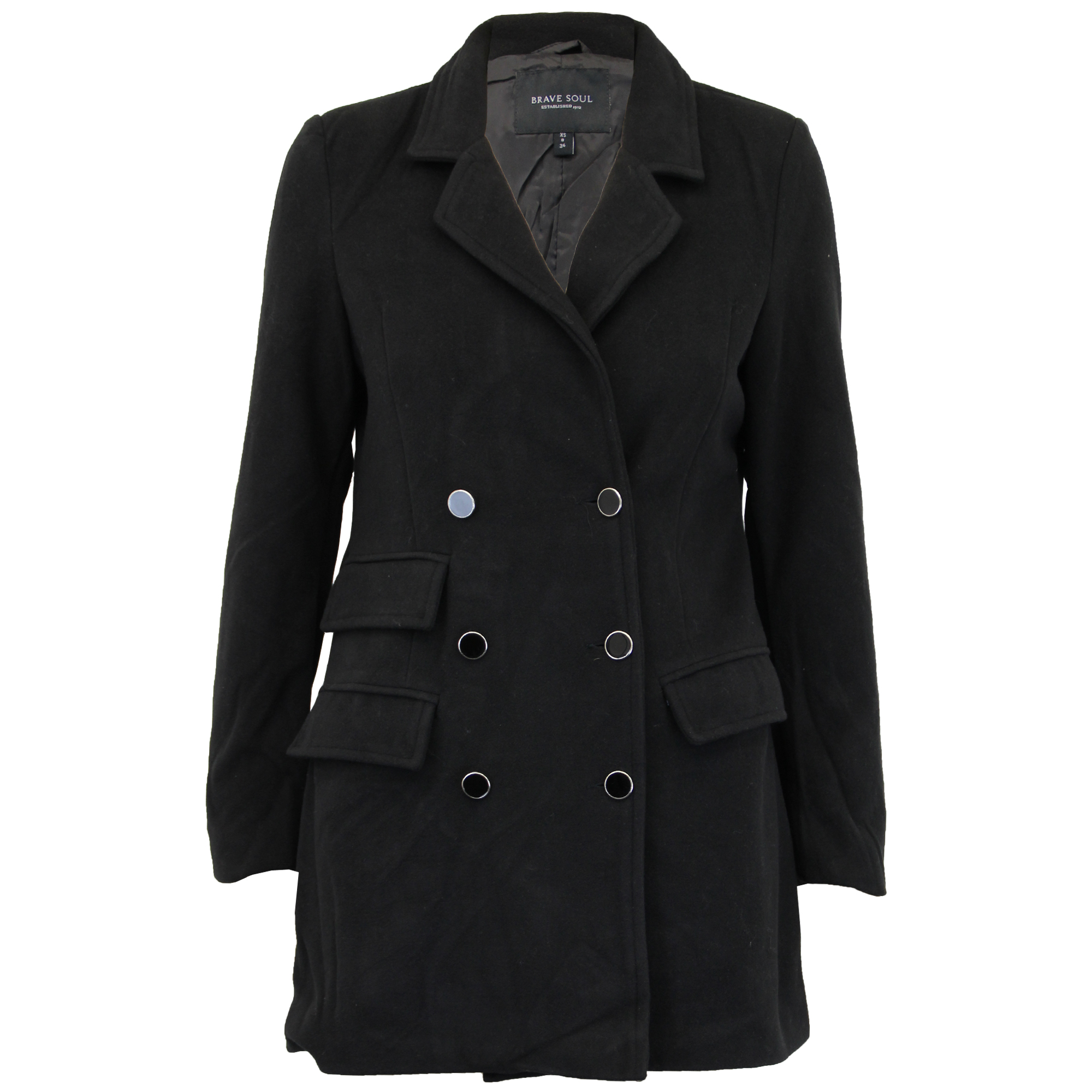 Ladies Jacket Brave Soul Womens Coats Wool Mix Double ...