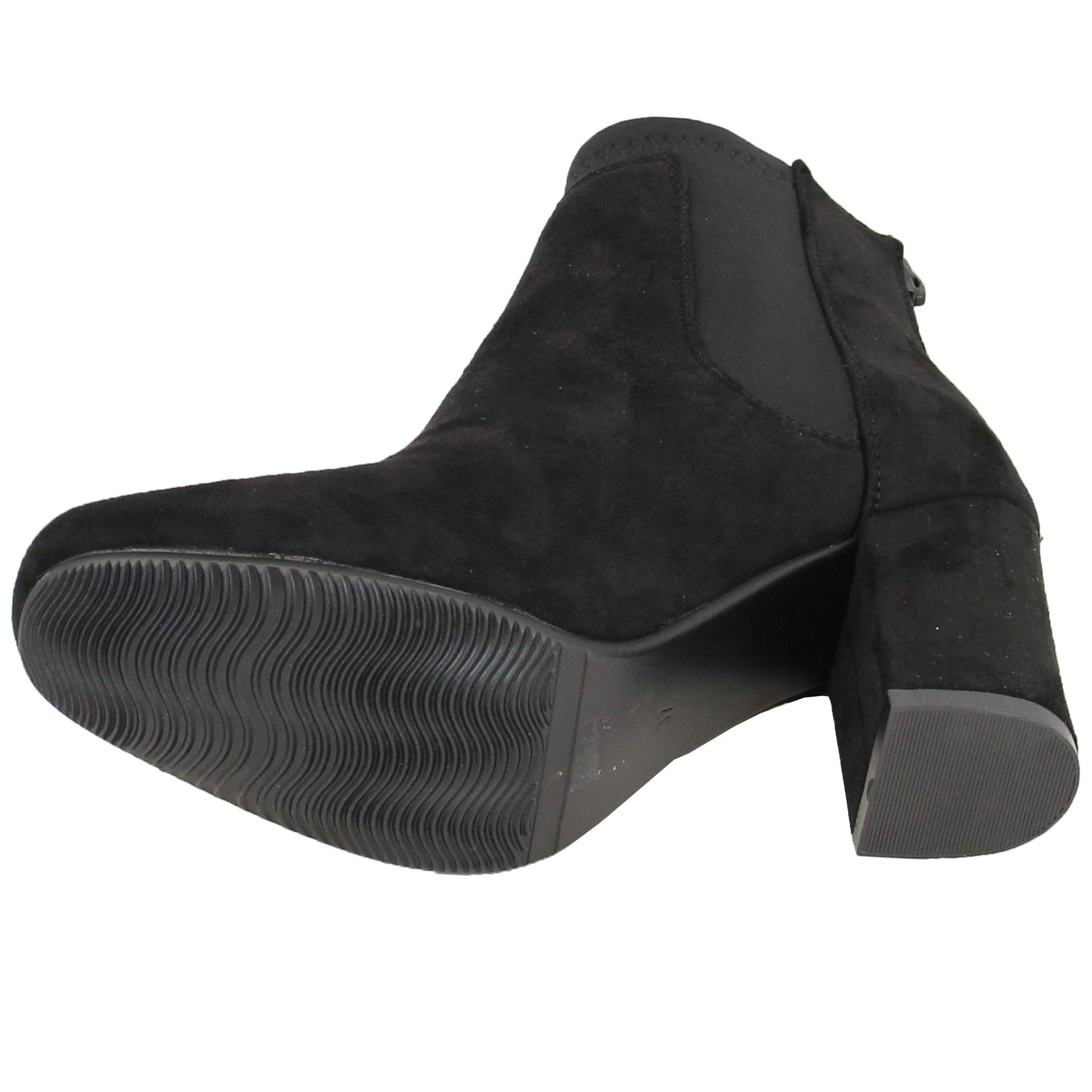 Ladies Chelsea Ankle Boots Womens Suede Look Shoes Block Heel ...