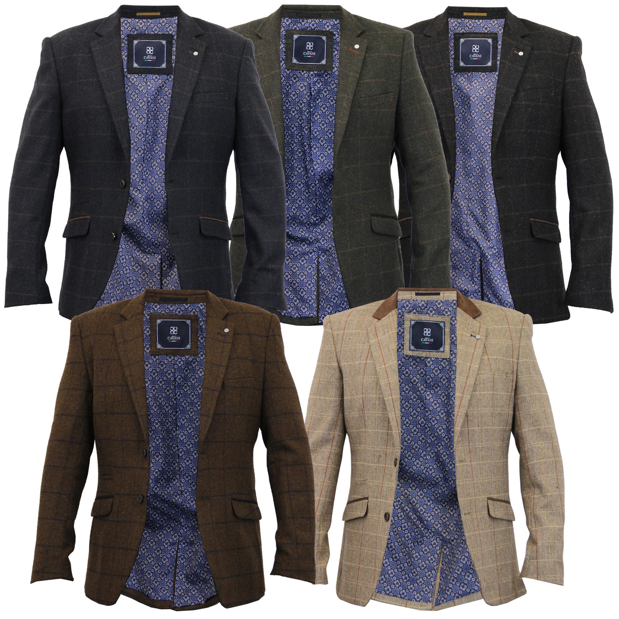 Mens Blazer Cavani Coat Wool Mix Checked Dinner Suit ...