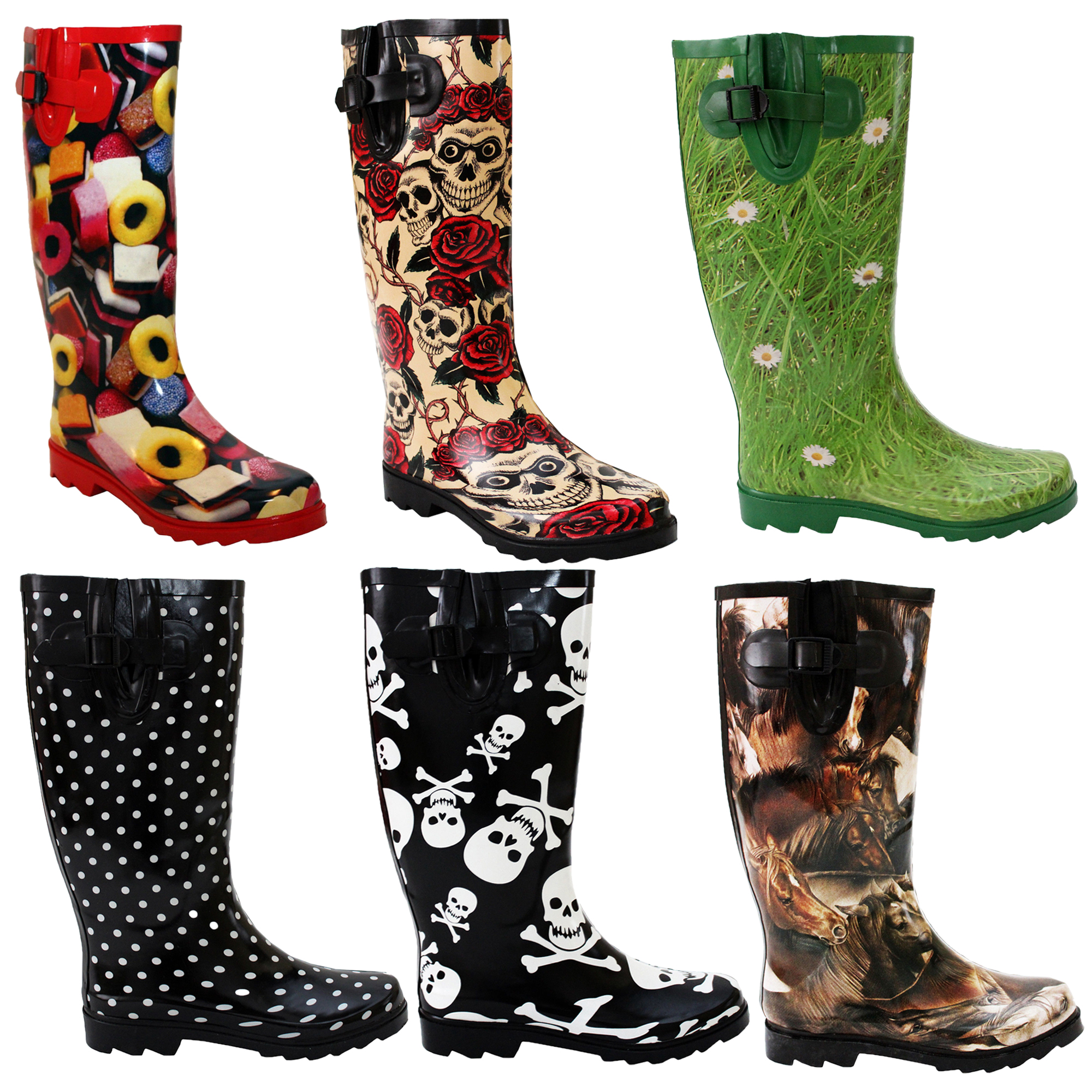 Ladies Boots Womens Snow Wellies Wellington Wide Calf ...