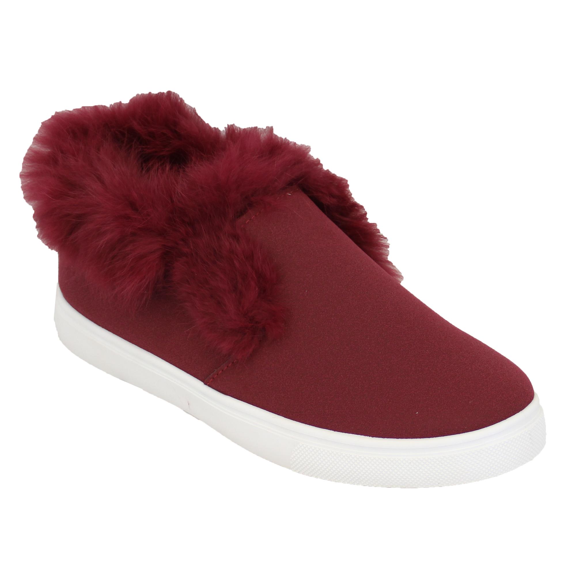 Ladies Flat Fur Pumps Womens Suede Look Trainers Hi Ankle ...