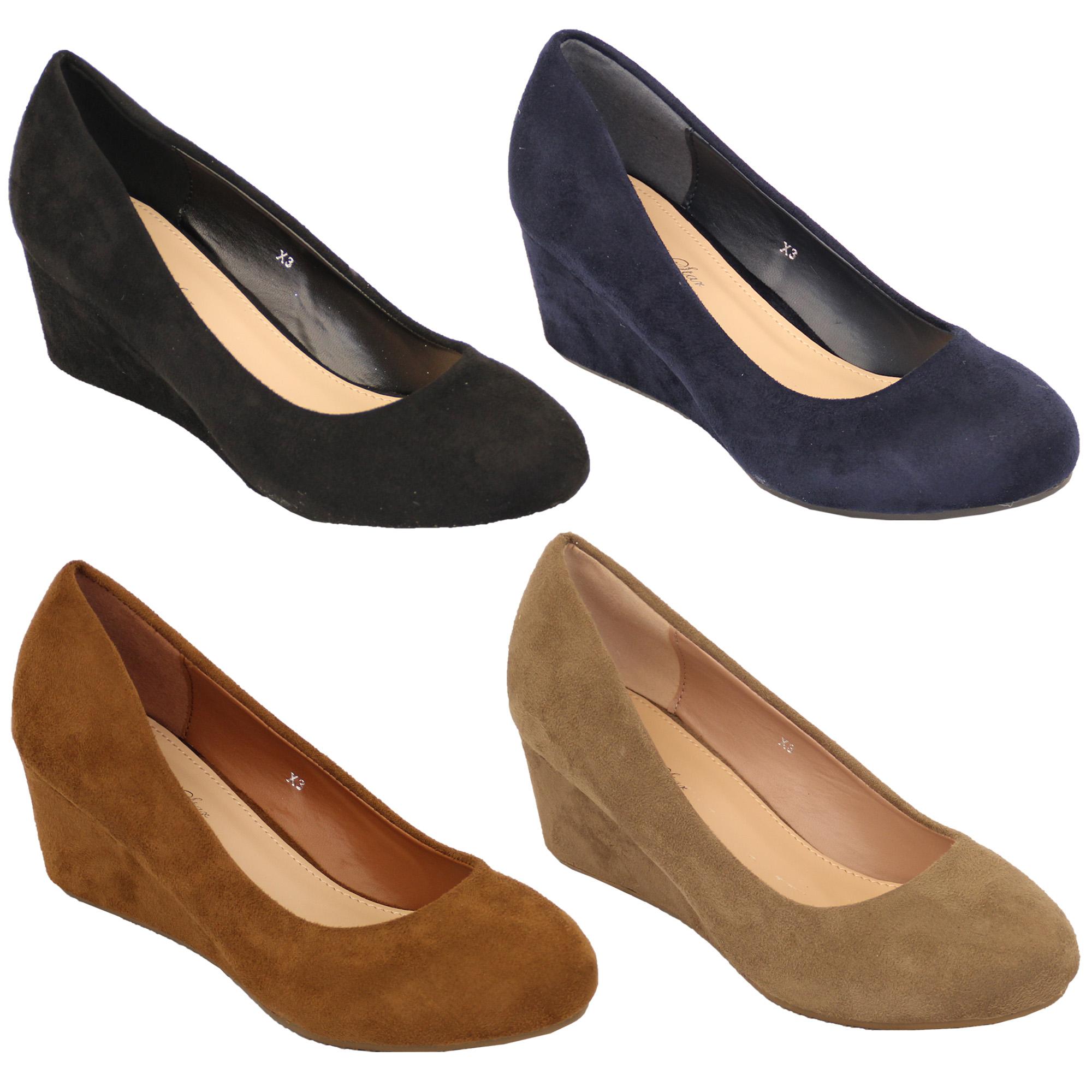 Ladies Black Suede Wedge Shoes