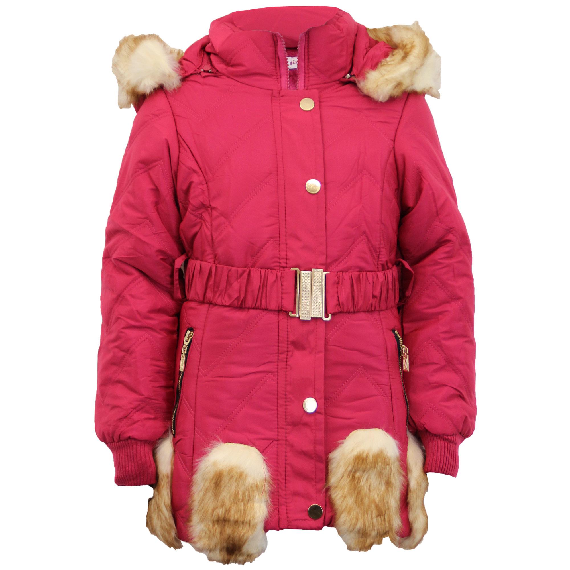 Girls Padded Jacket Kids Coat Fur Hooded Quilted BELT ...
