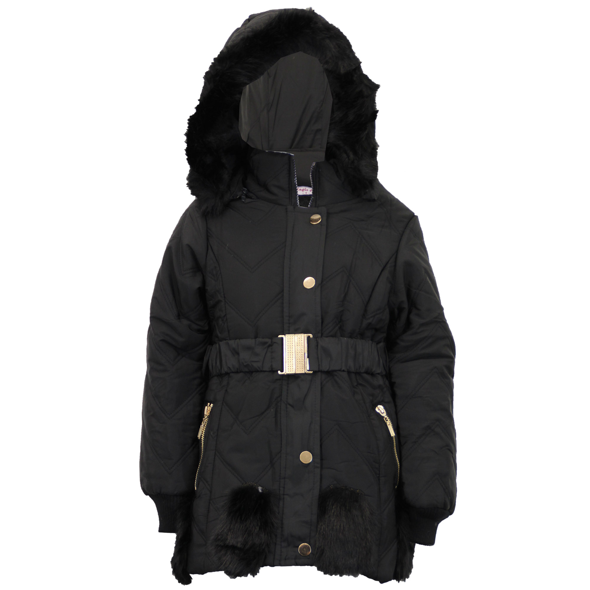 Girls Padded Jacket Kids Coat Fur Hooded Quilted Belt