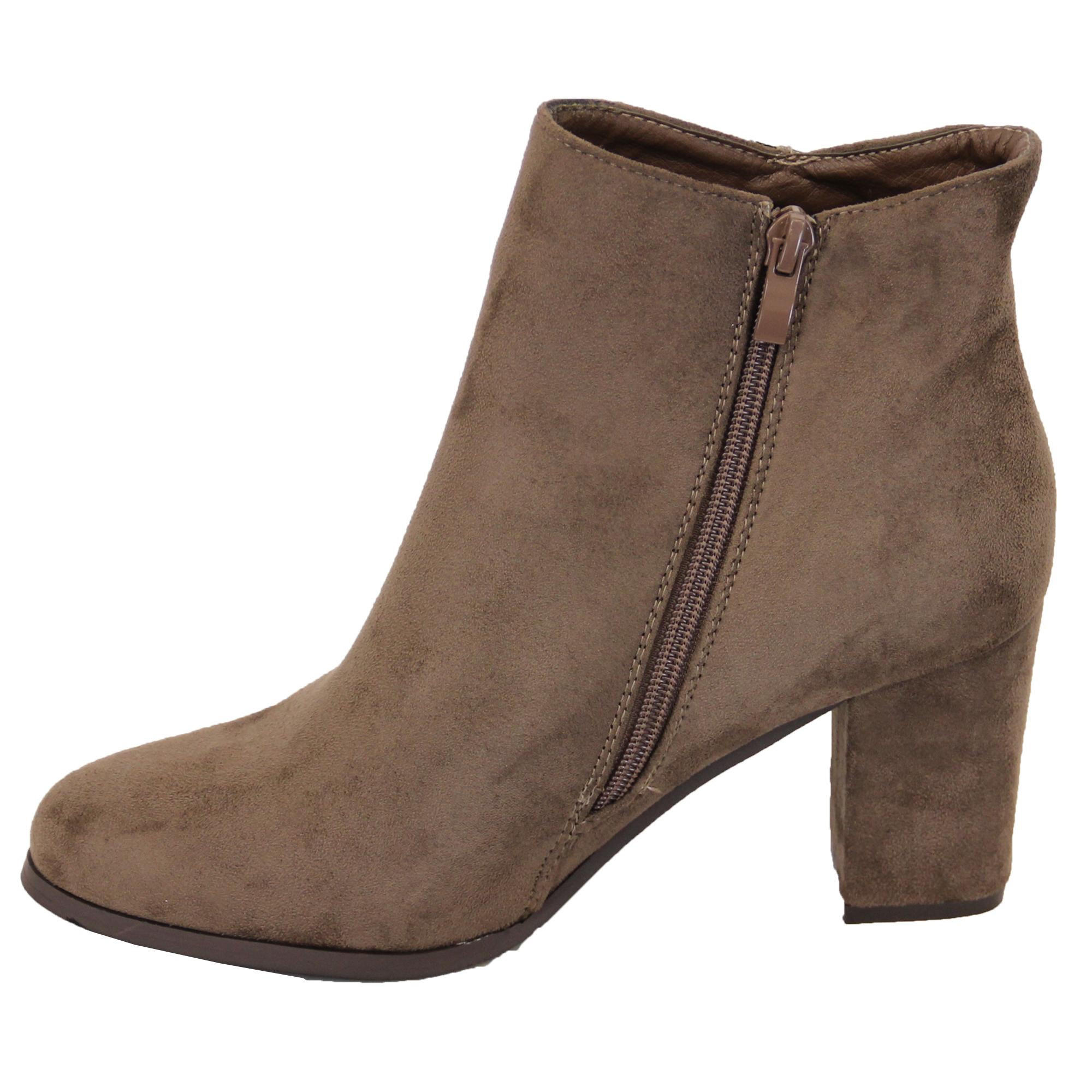 chelsea ankle boots womens suede look block heel