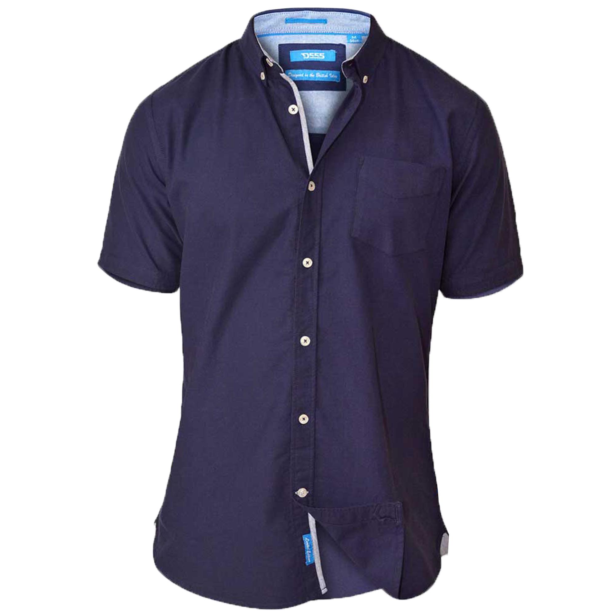 Mens Cotton Chambray Shirt D555 Duke Short Sleeved Big
