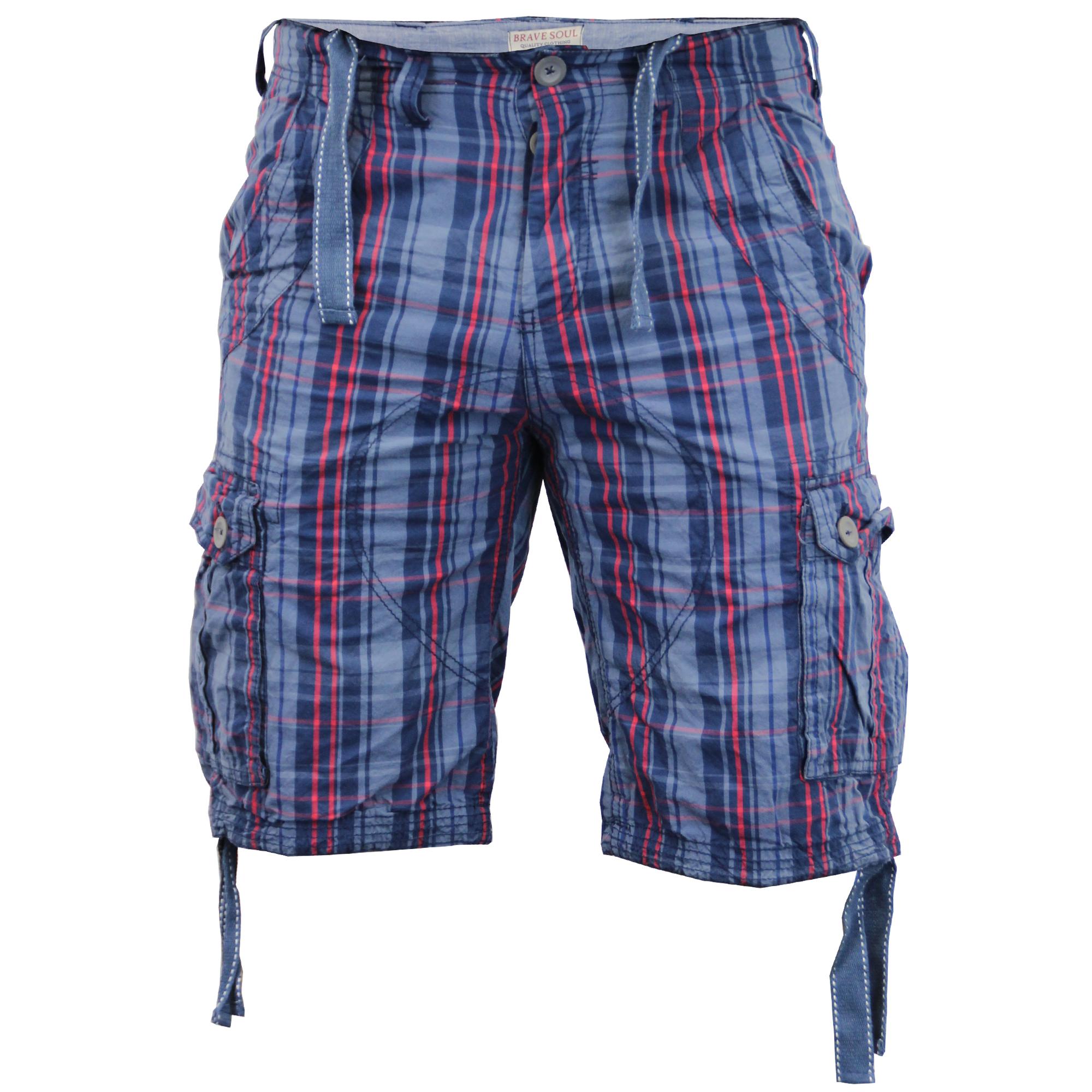 Mens Shorts Brave Soul Tartan Checked Combat Cargo Knee Length ...