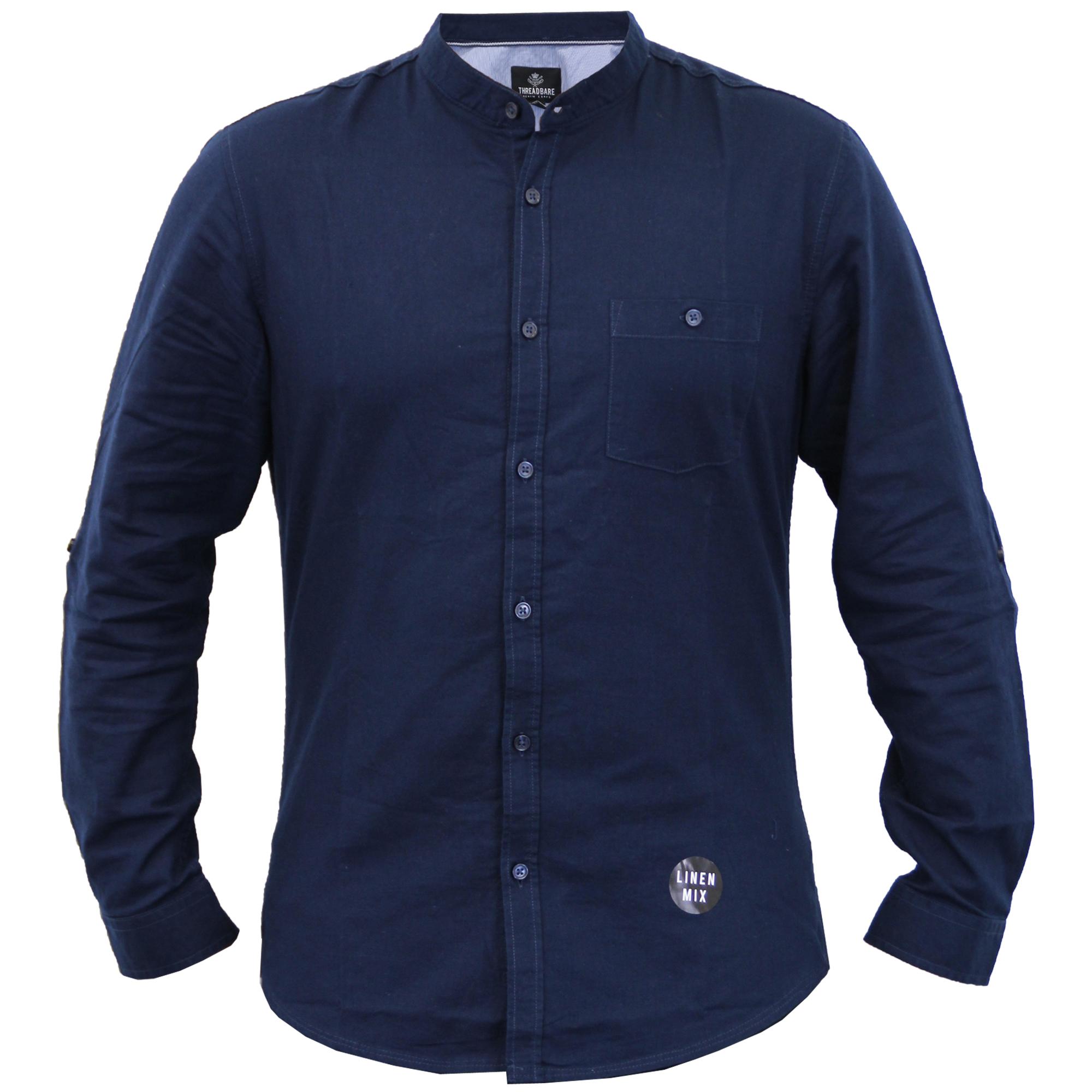 Mens linen shirt threadbare grandad collar long sleeved for Mens summer linen shirts