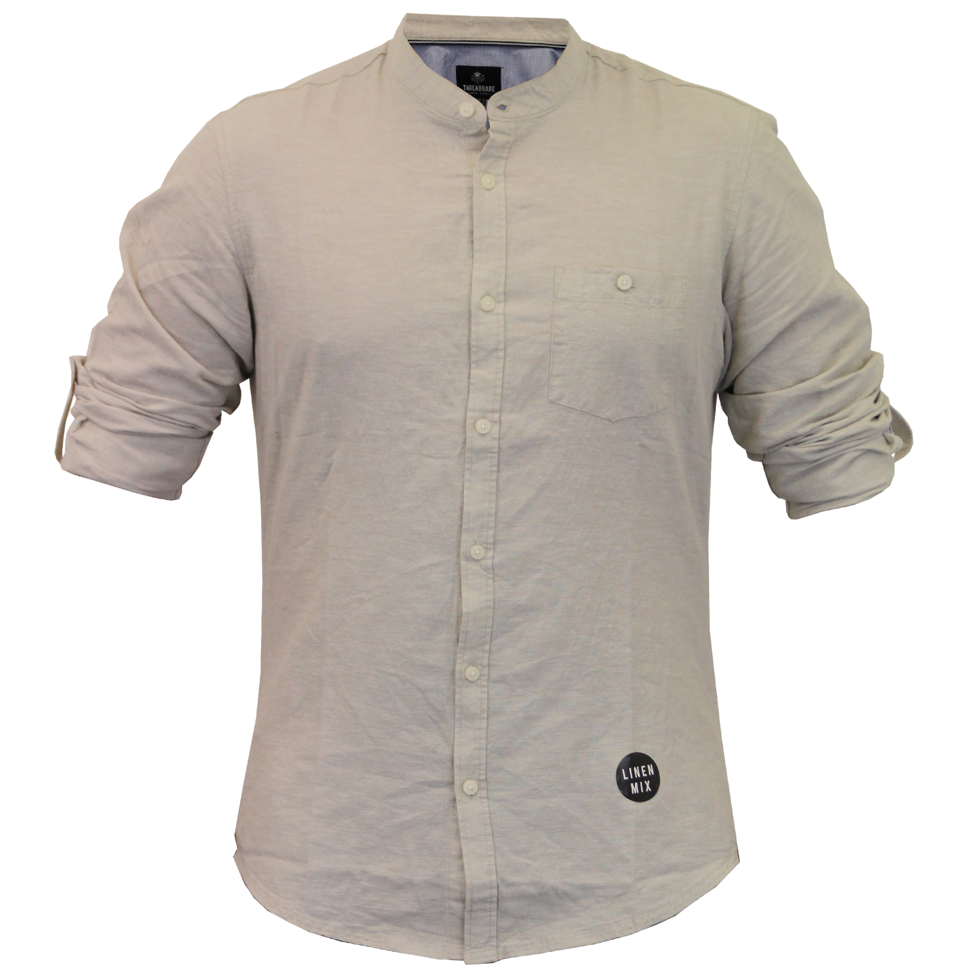 mens linen shirt threadbare grandad collar long sleeved