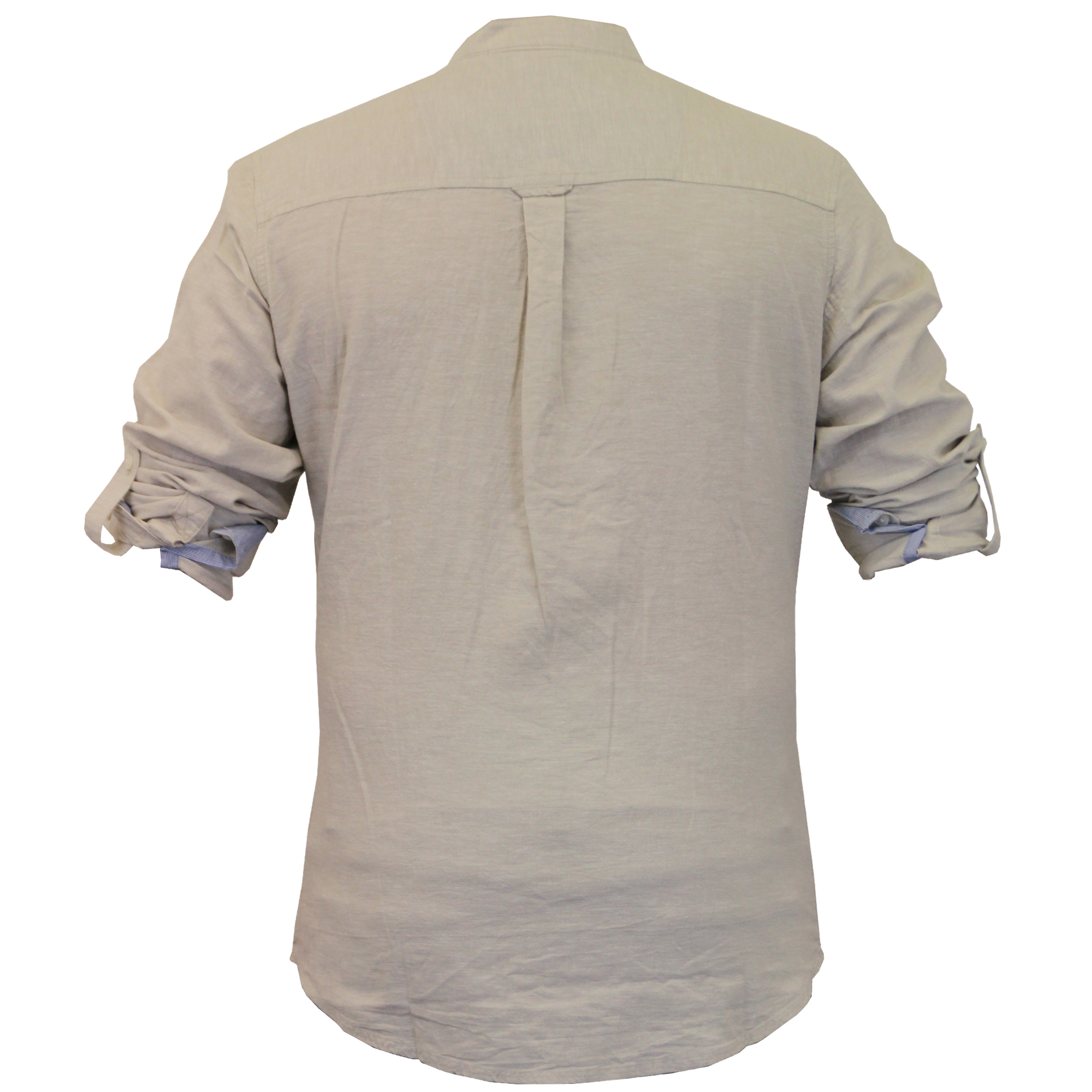 Mens linen shirt threadbare grandad collar long sleeved for Long sleeved casual shirts