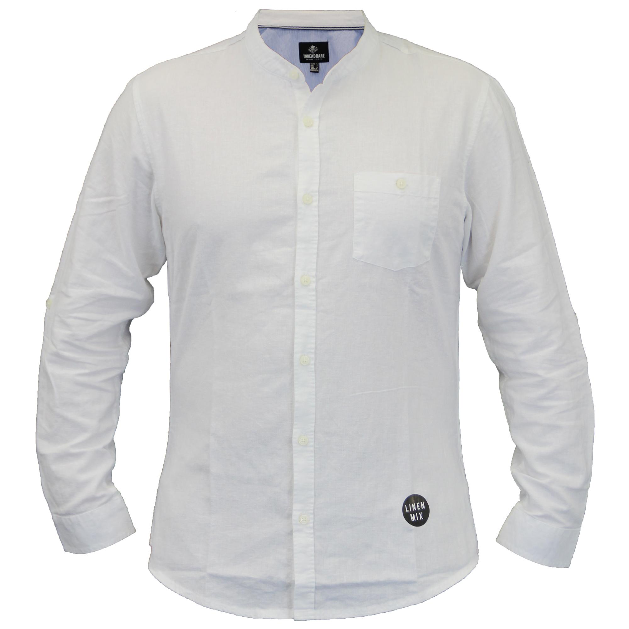Mens linen cotton shirt threadbare grandad collar long for Linen long sleeve shirt