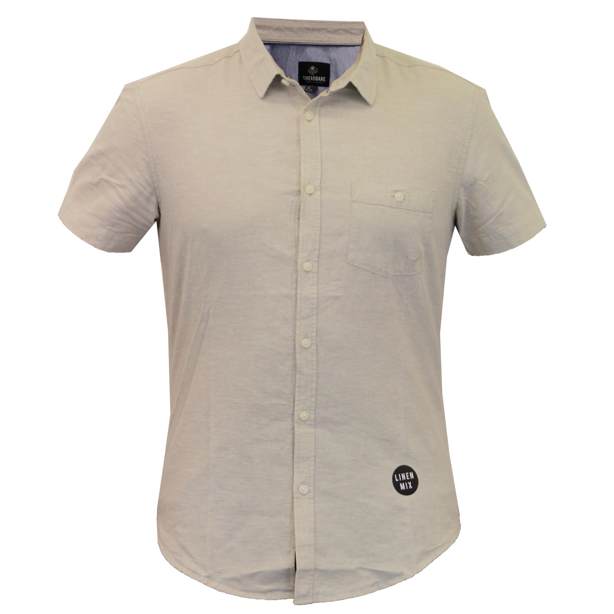 Mens linen shirt threadbare short sleeved brave soul for Mens short sleeve linen dress shirts