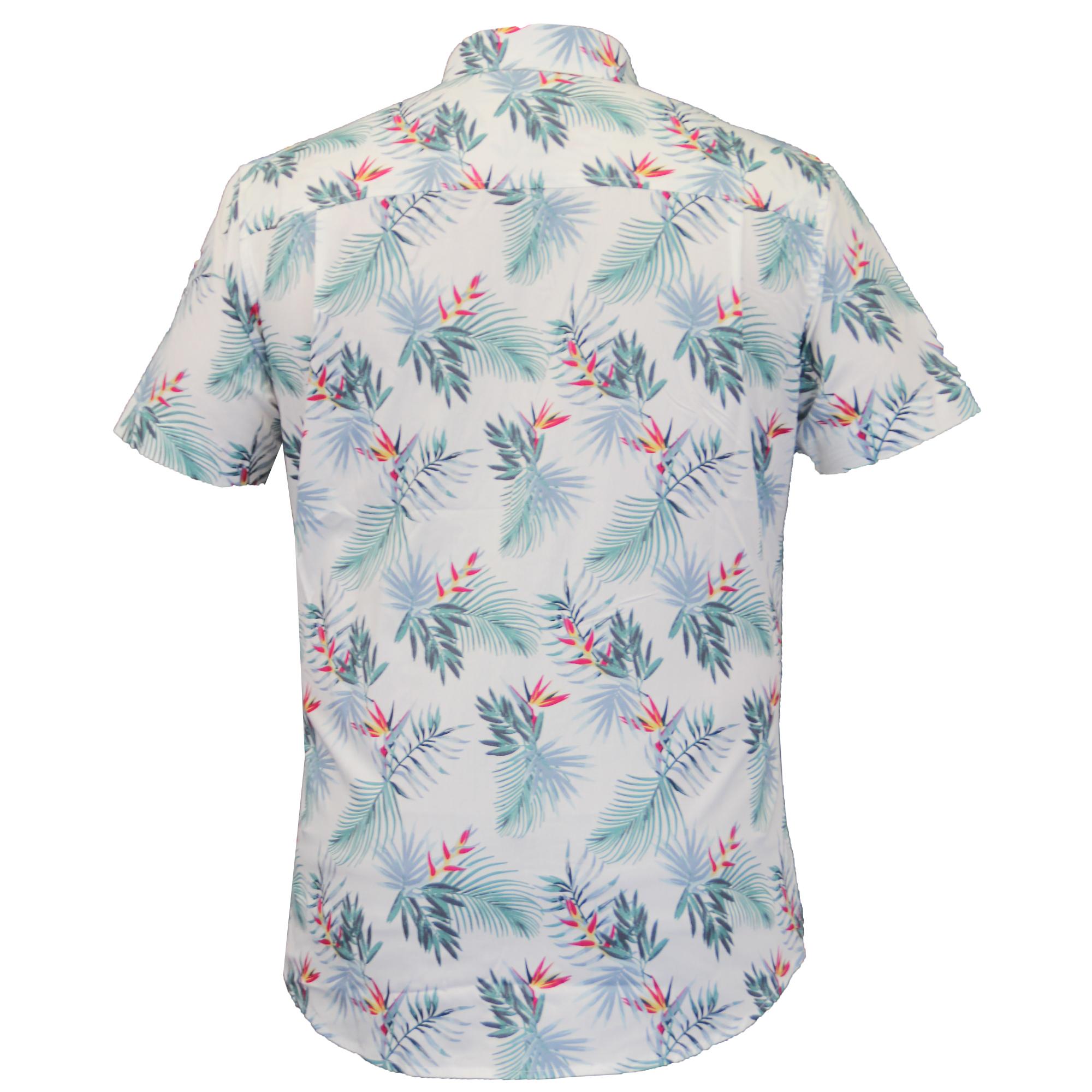 Mens hawaii floral shirt threadbare palm tree print short for Flower print mens shirt