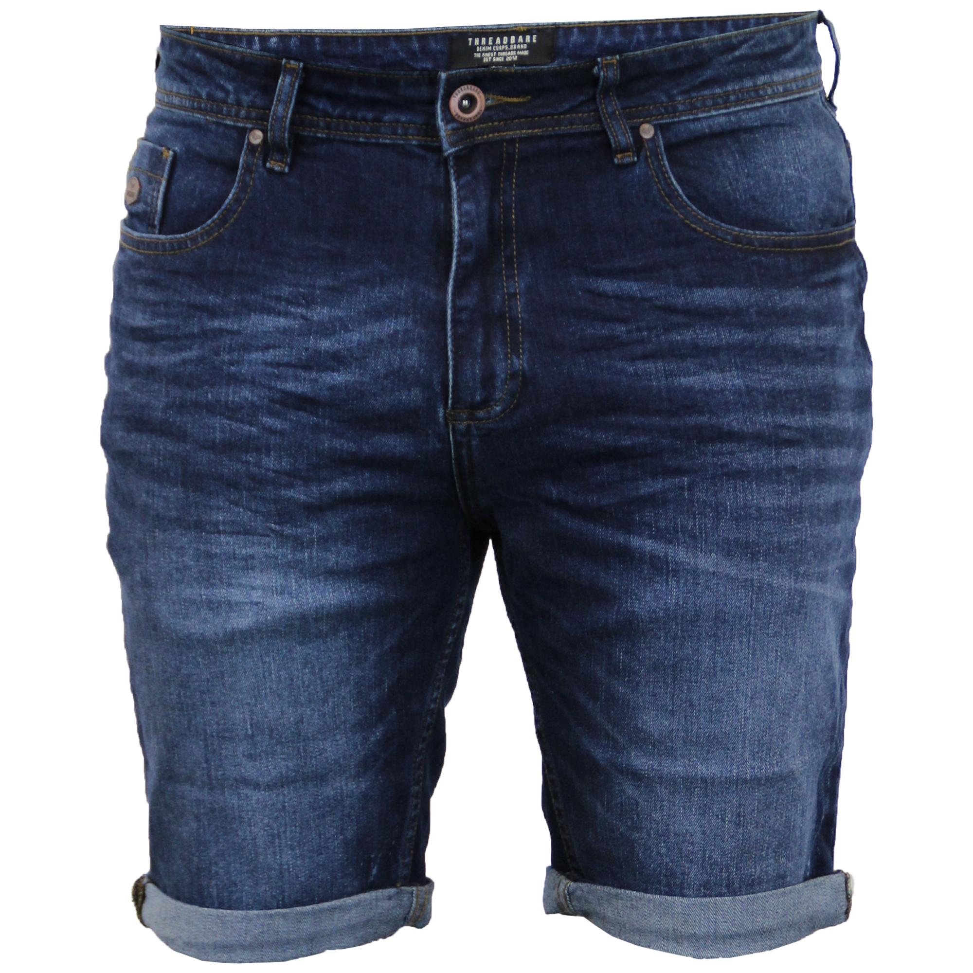 Mens Denim Shorts Threadbare Knee Length Jean Roll Up Stretch ...
