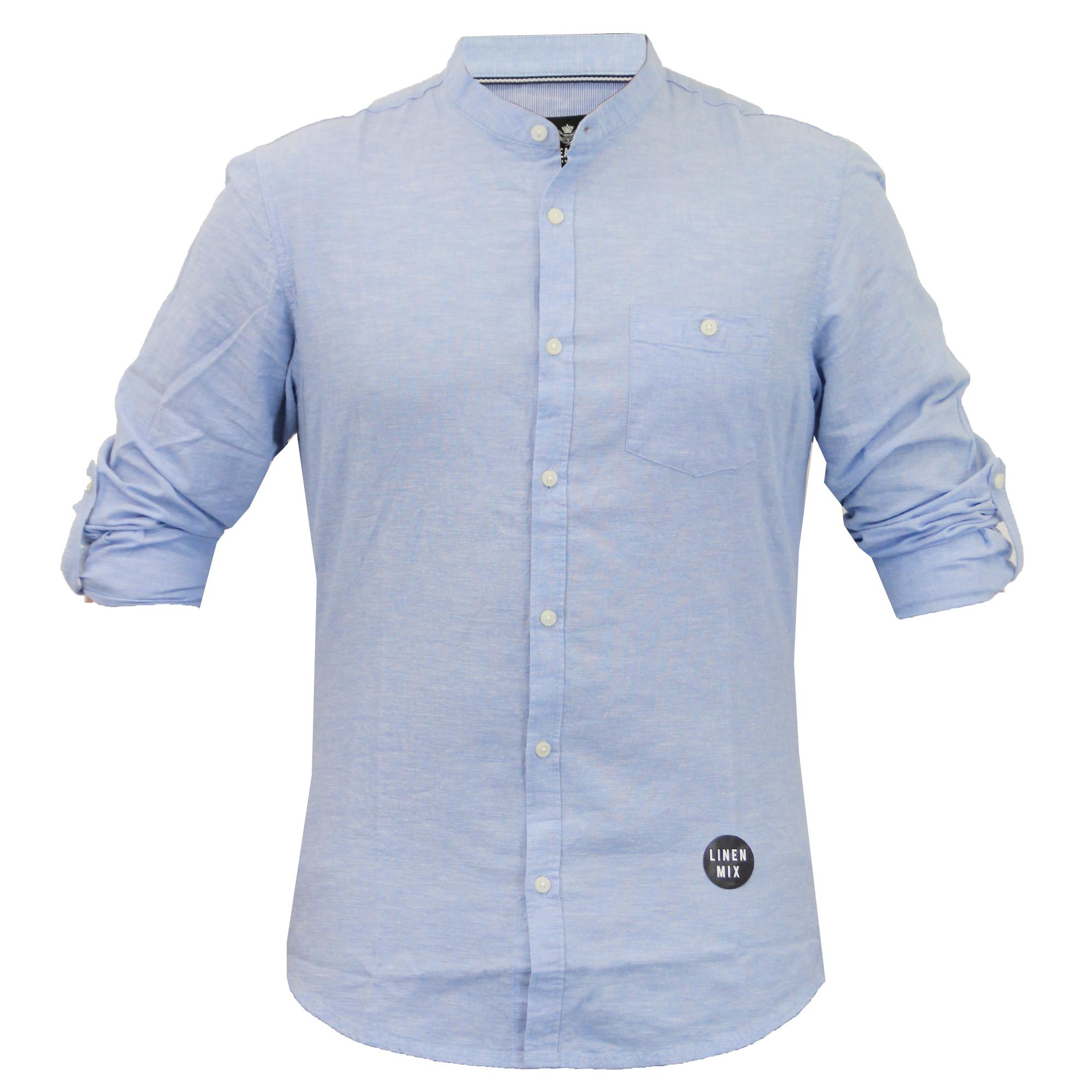 Mens linen shirt threadbare grandad collar long sleeved for Linen long sleeve shirt
