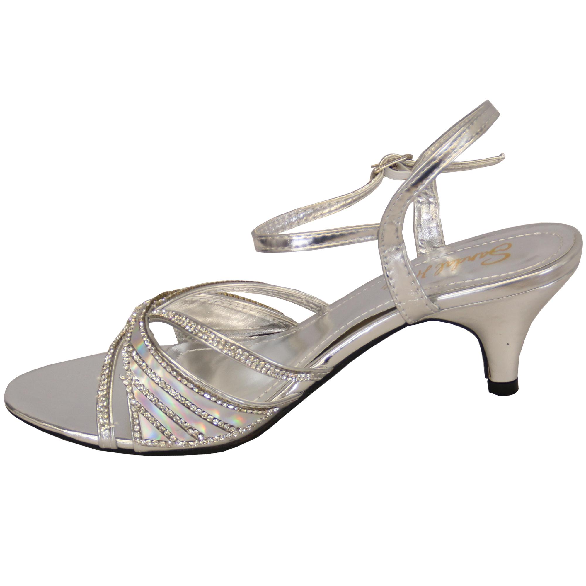 Ladies Sandals Womens Mid Heel Diamante Buckle Open