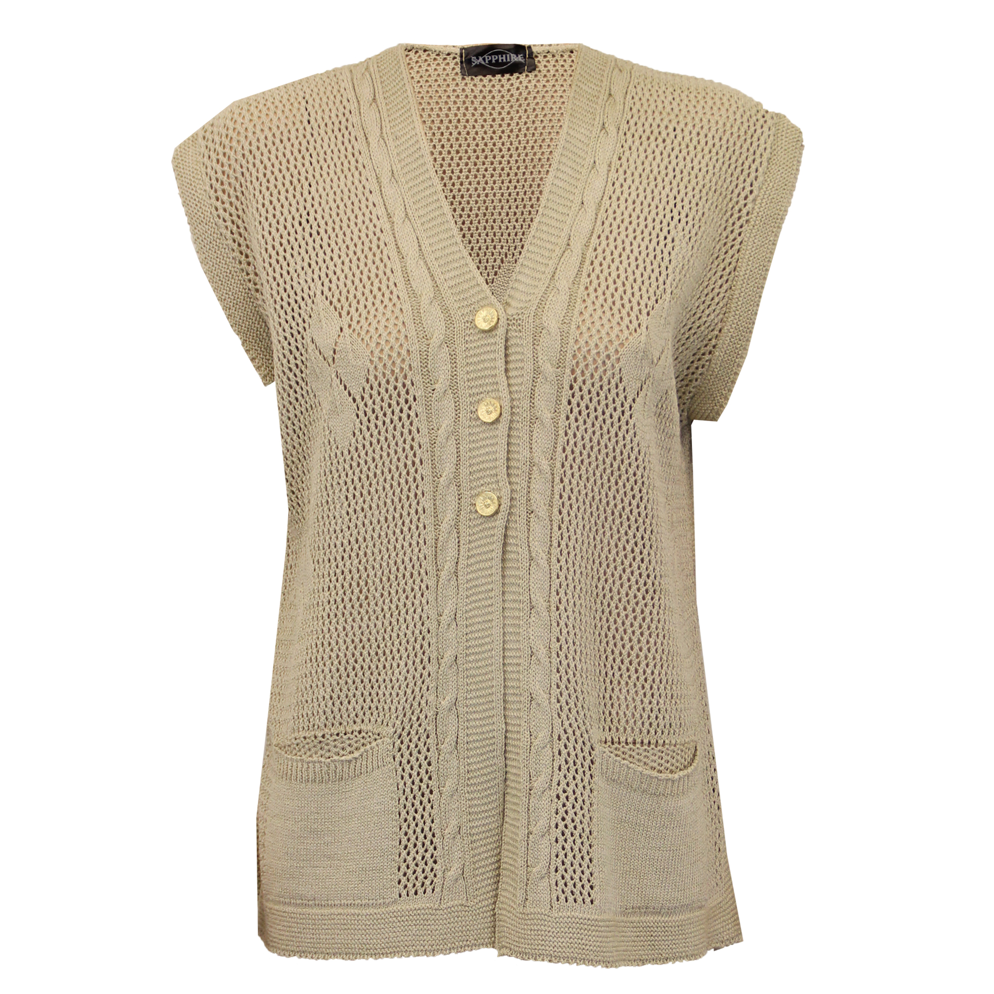 Knitted Gilet Pattern : Ladies Cardigans Womens Gilet Knitted Crochet Waistcoat ...