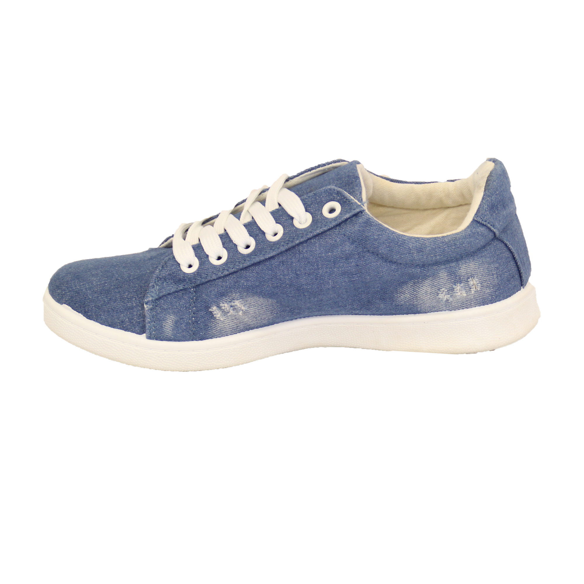 denim womens ripped trainers flat lace up funky