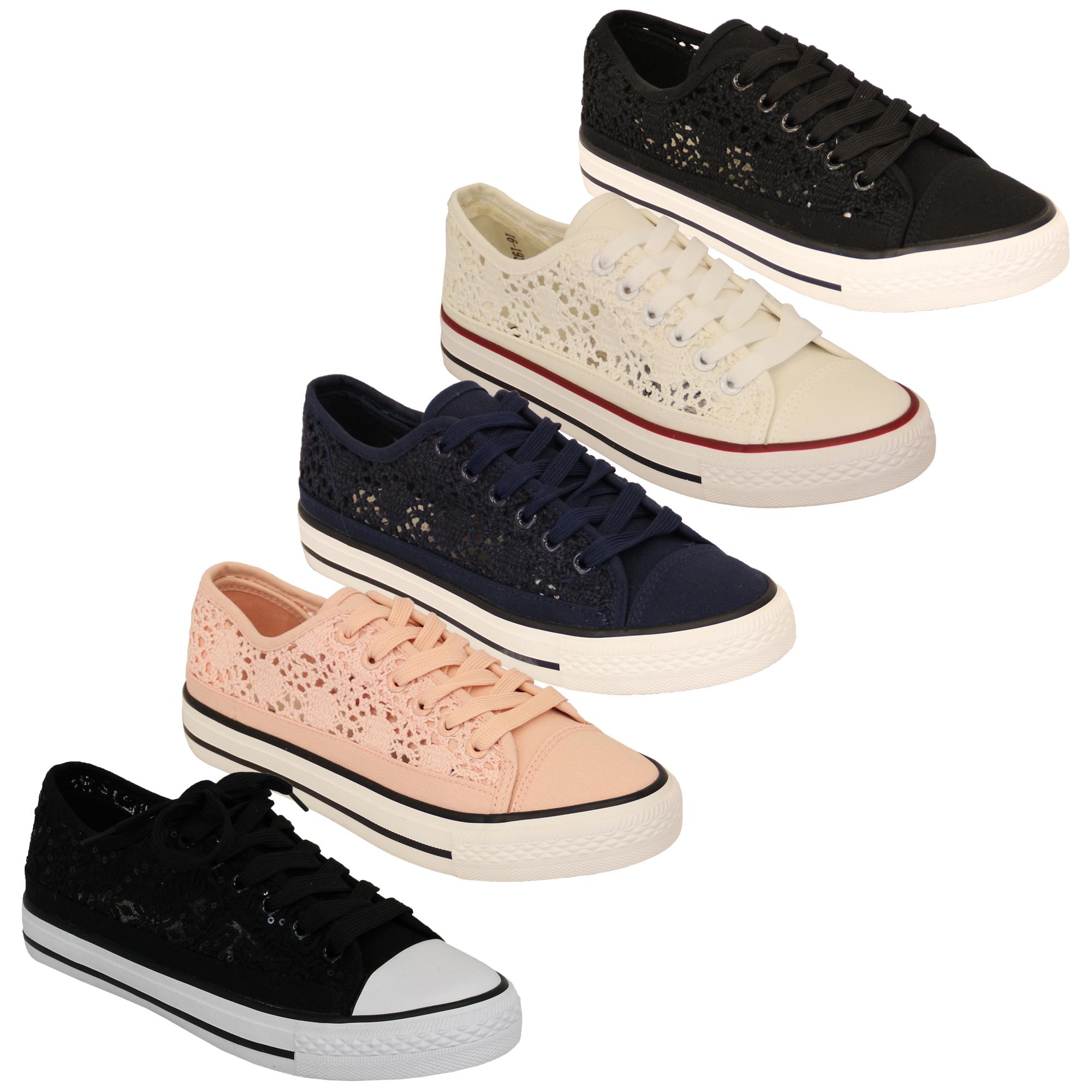 Ladies Trainers Womens Flat Skate Funky Lace Crochet Floral Canvas Pumps Shoes