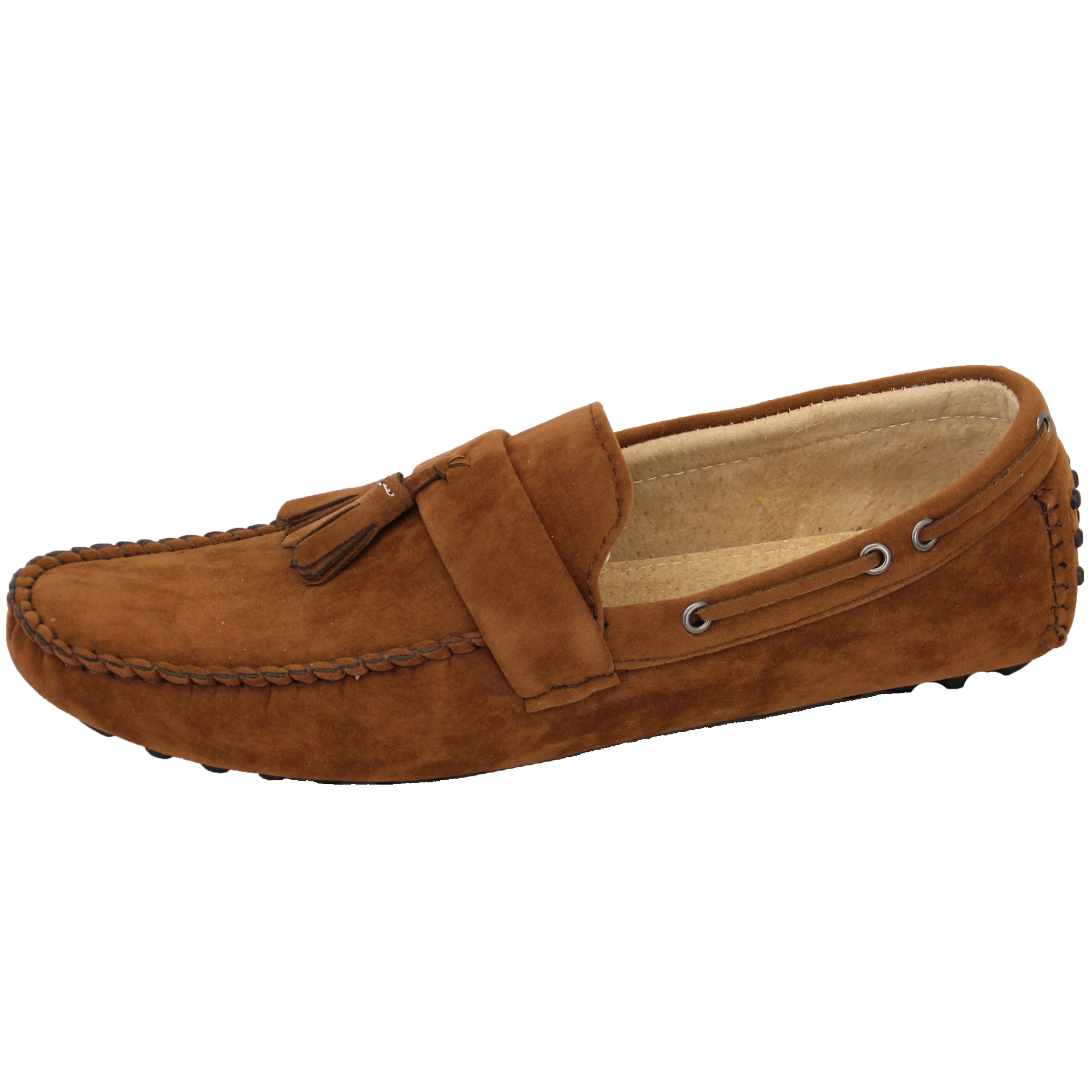 mens moccasins suede leather look shoes boat slip on