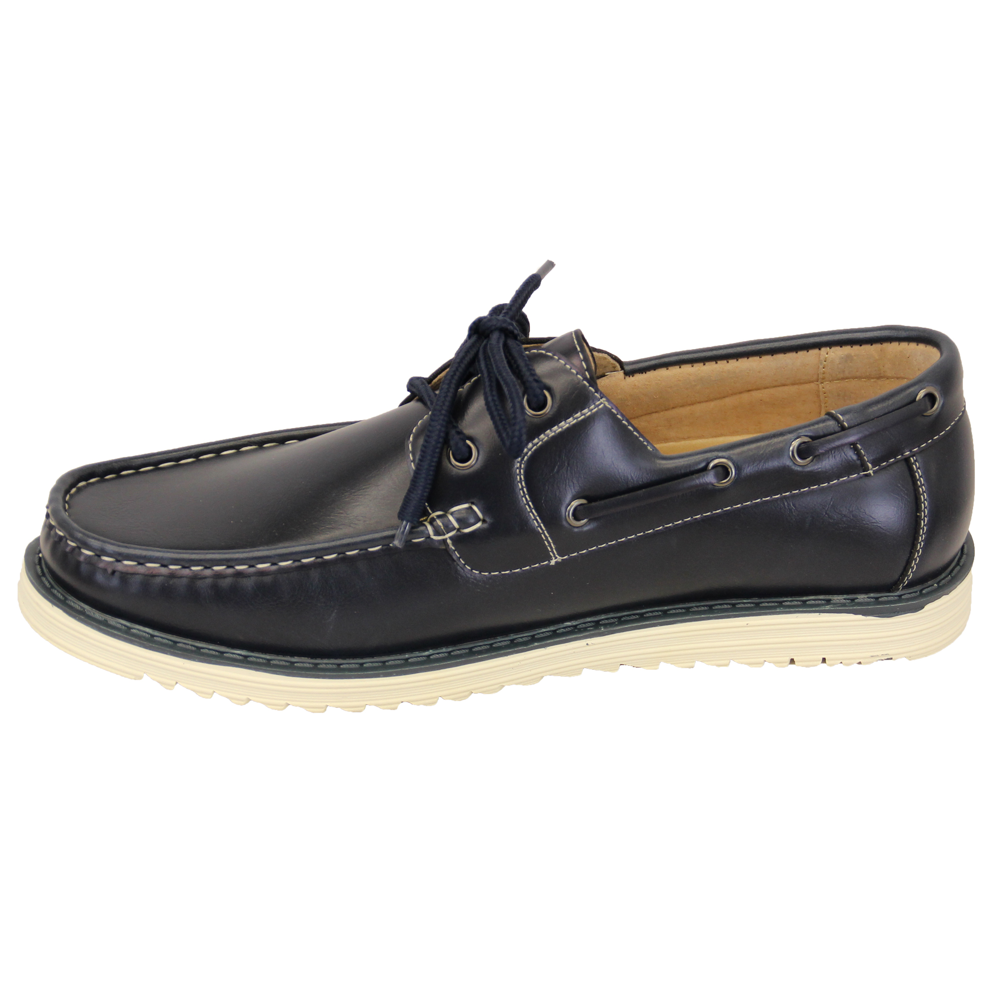 mens leather boat shoes driving lace up deck galax casual