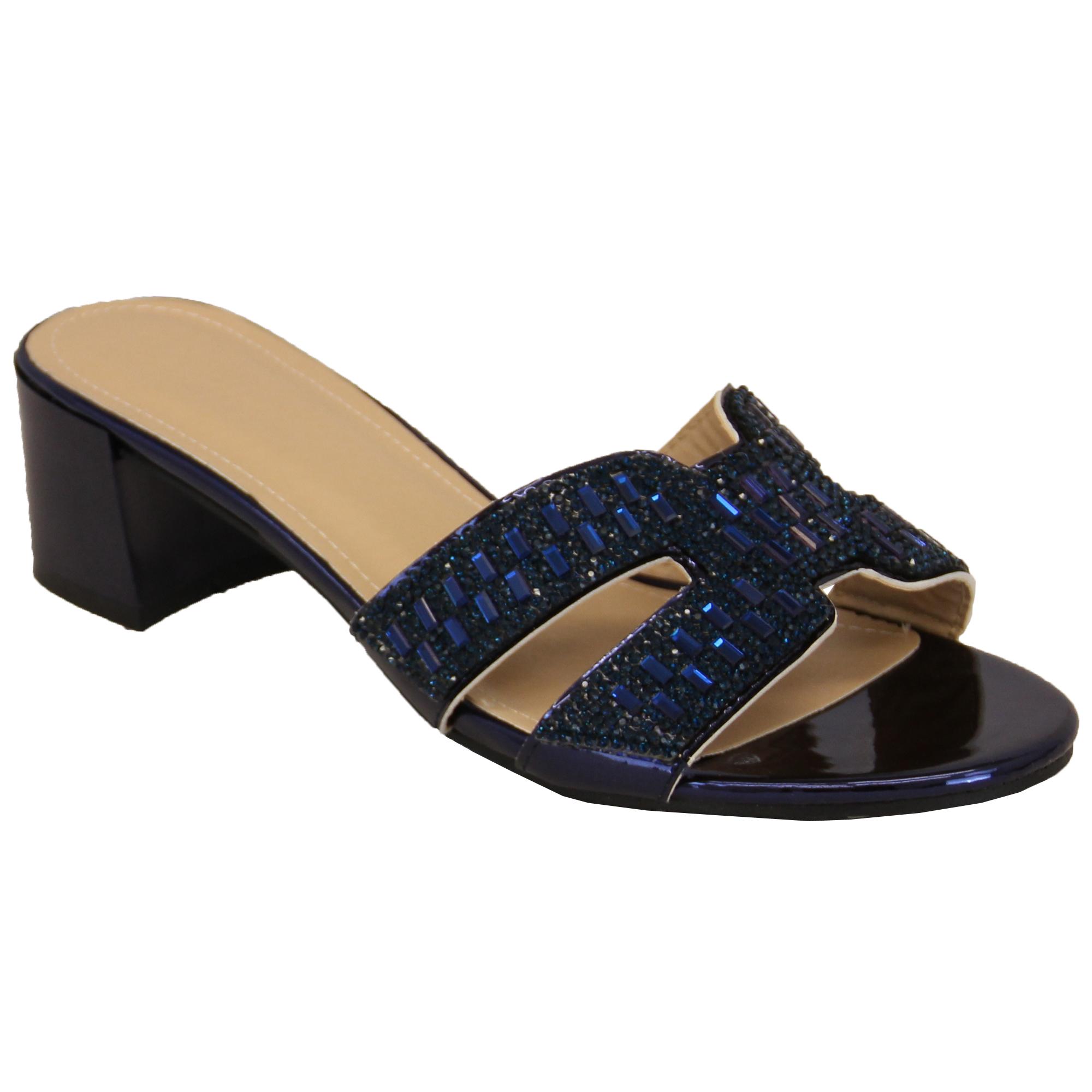 Ladies Diamante Bridesmaid Sandals Open Toe Slip On Block Heel Shoes Wedding New