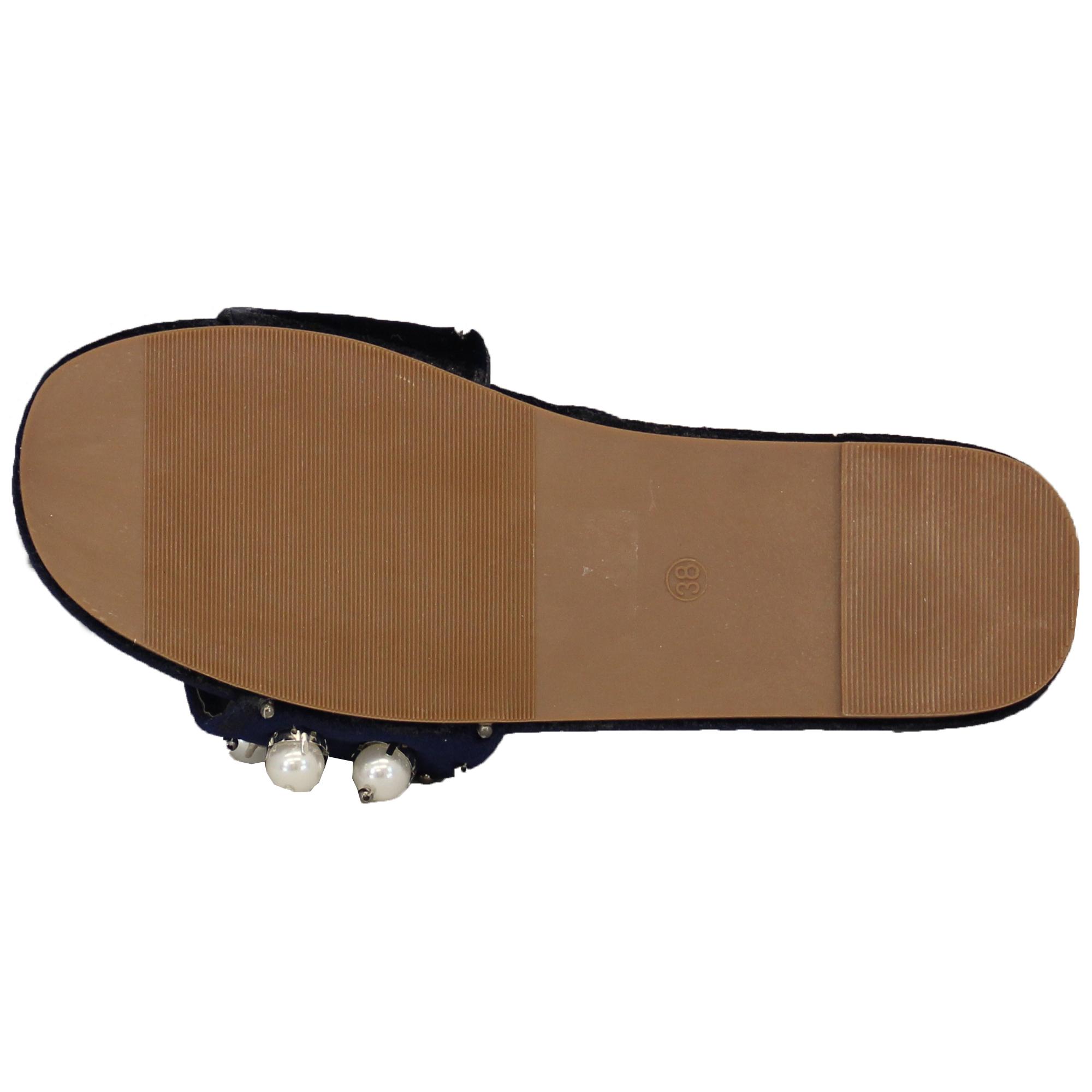 Ladies Slip On Sliders Womens Sandals Suede Slipper Pearl Bead Flat Denim Comfy