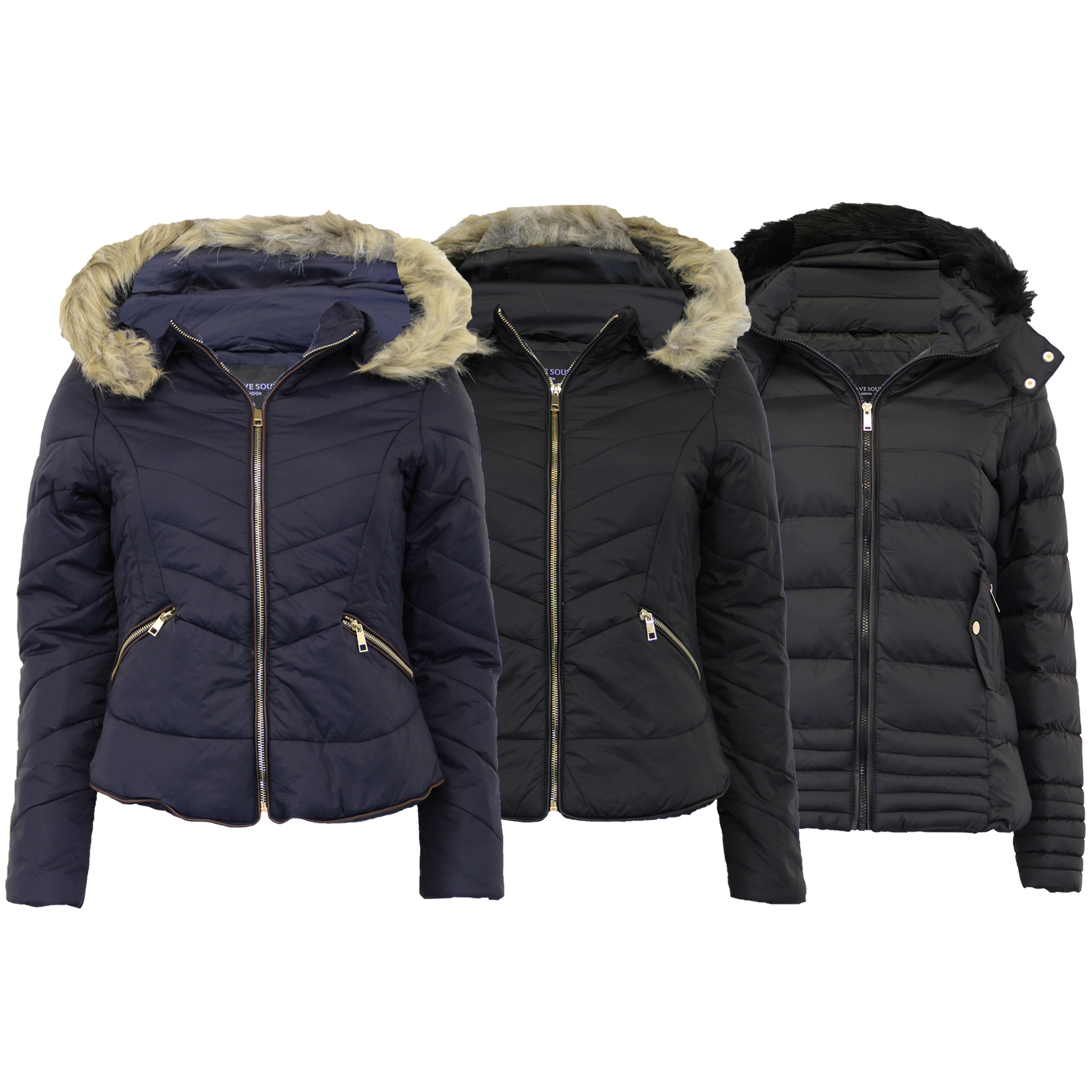 Ladies Parka Jacket Brave Soul Womens Coat Quilted Padded Bomber ...