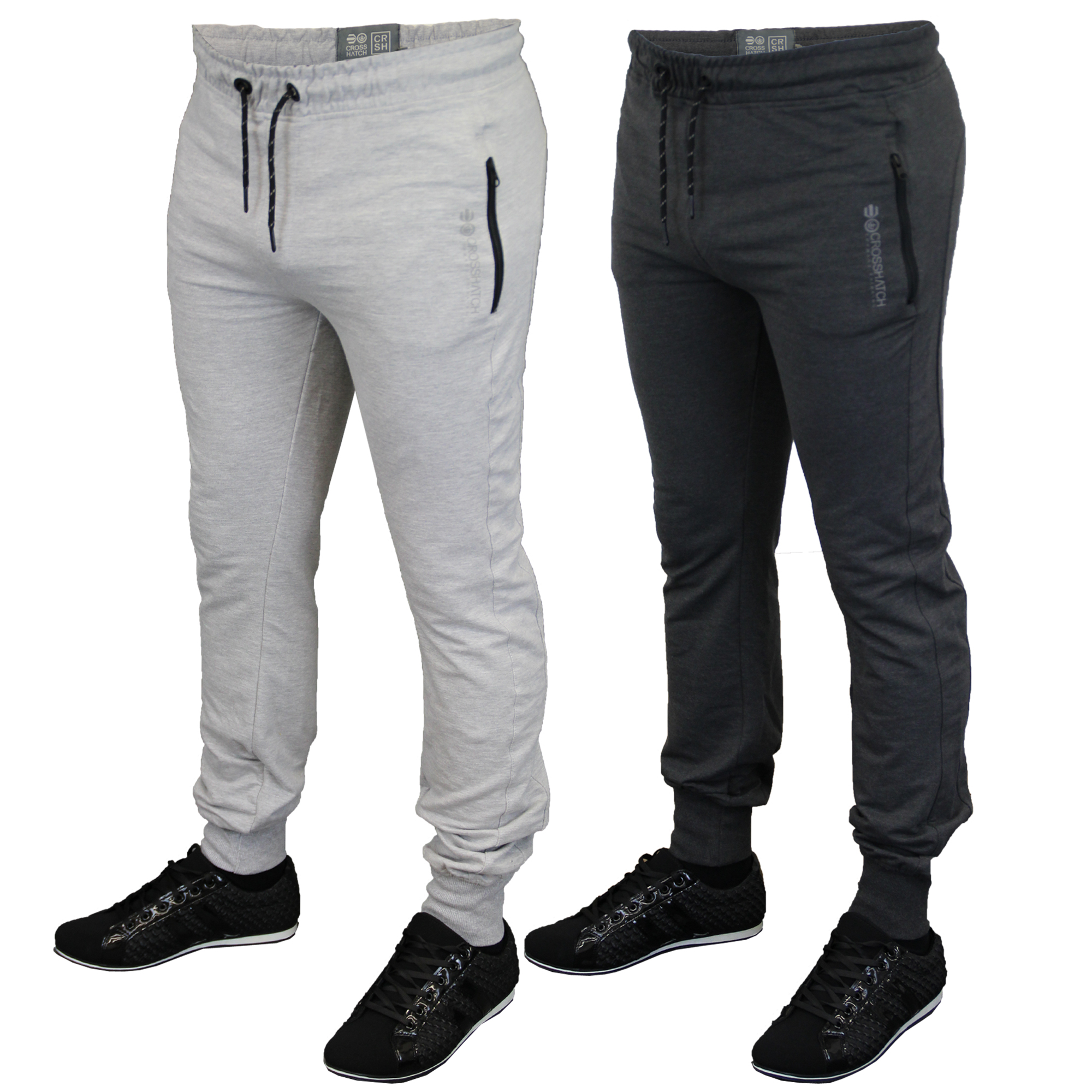 Mens Bottoms Crosshatch Jogging Pants Cuffed Trousers Running Gym Winter Fashion