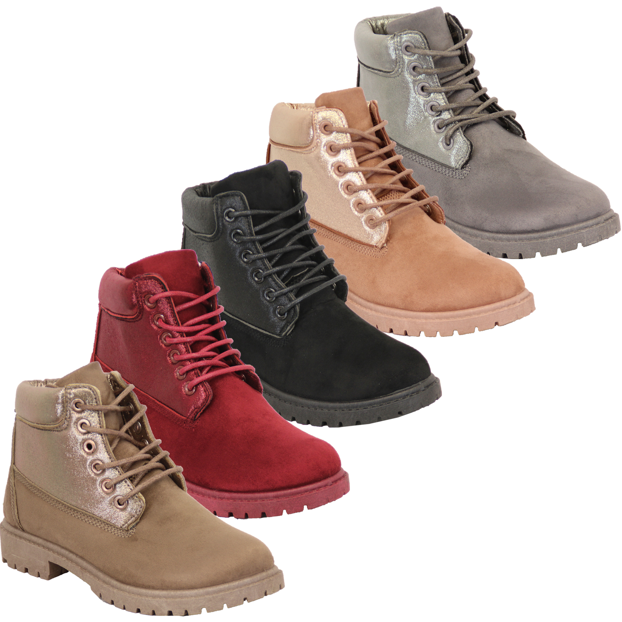 boots womens shoes suede look high ankle lace up