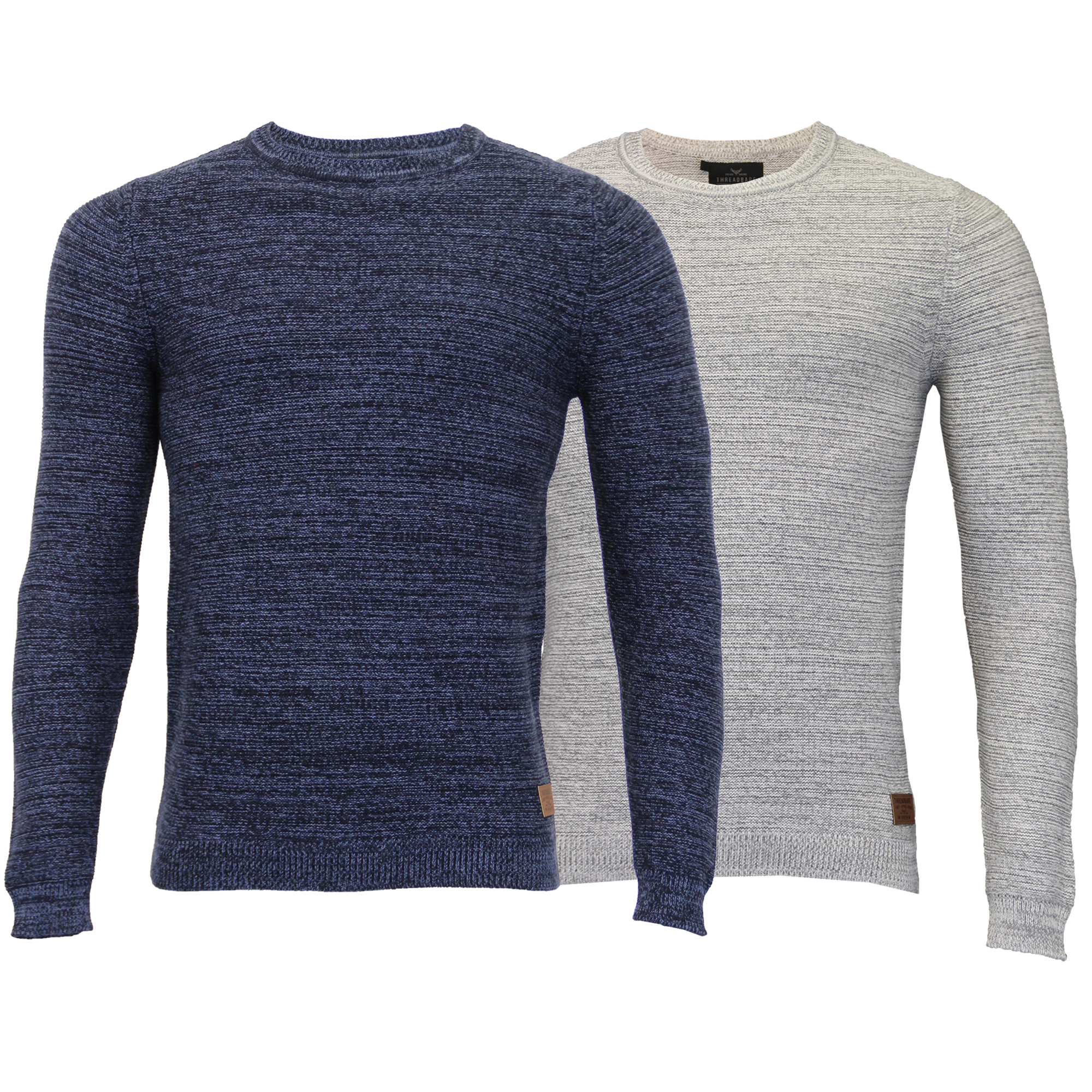 Mens Knitted Jumper Threadbare Sweater Pullover Top Crew Neck Casual Winter New