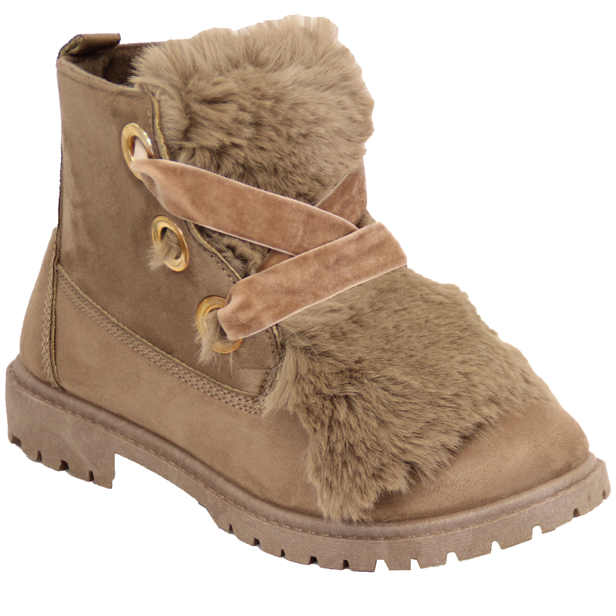 Ladies Suede Look Boots Womens Fluffy Fur Low Heel Lace Up Ankle Shoes Winter
