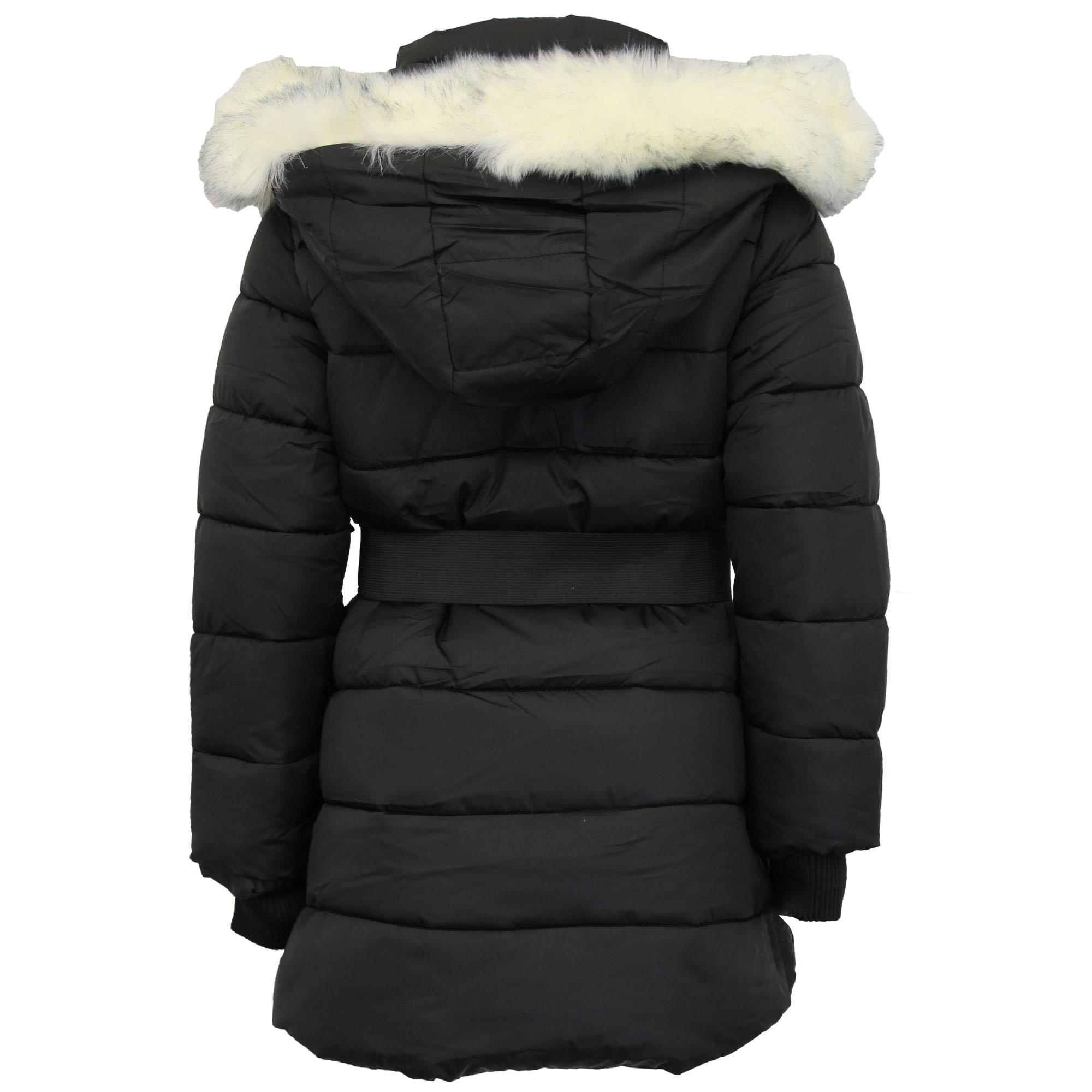 Girls Jacket Kids Parka School Coat Padded Bubble Lined Fur Hoodie Zip Winter