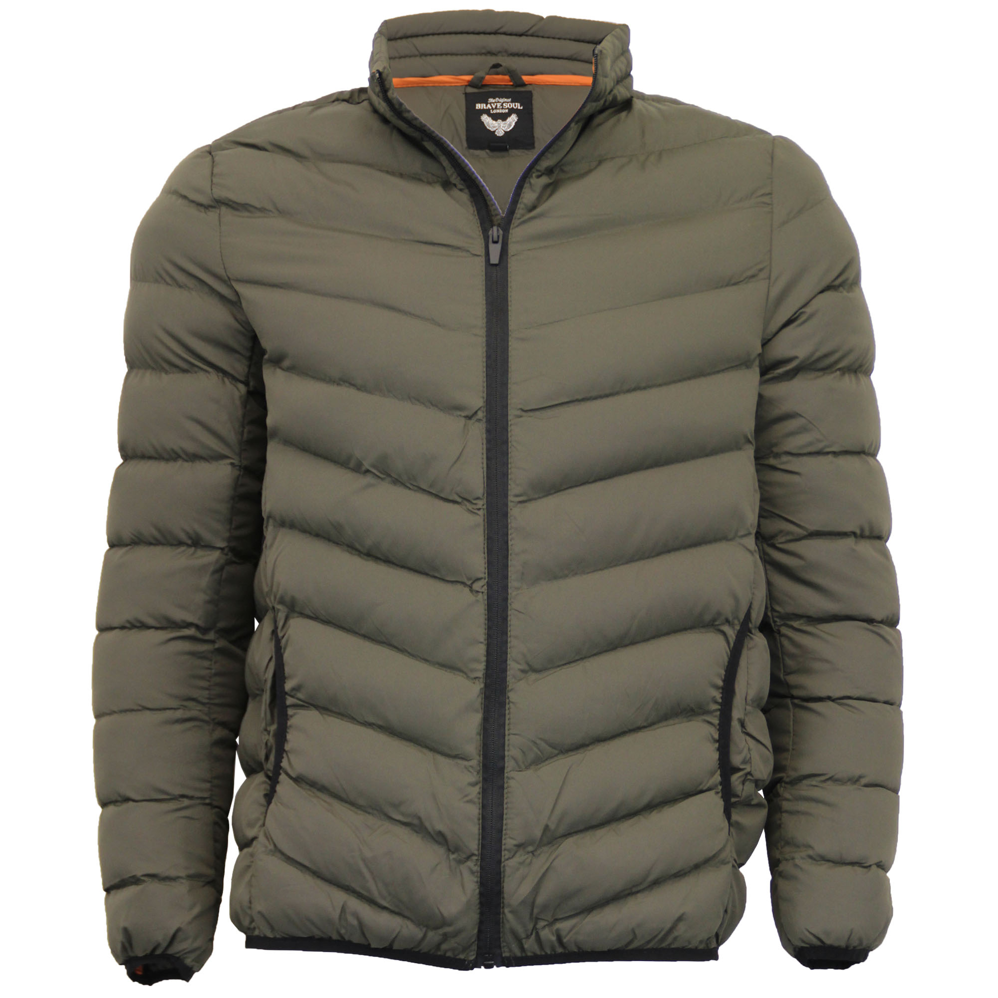 Mens Padded Jacket Brave Soul Quilted Bubble Coat Funnel Neck ... : brave soul quilted jacket - Adamdwight.com