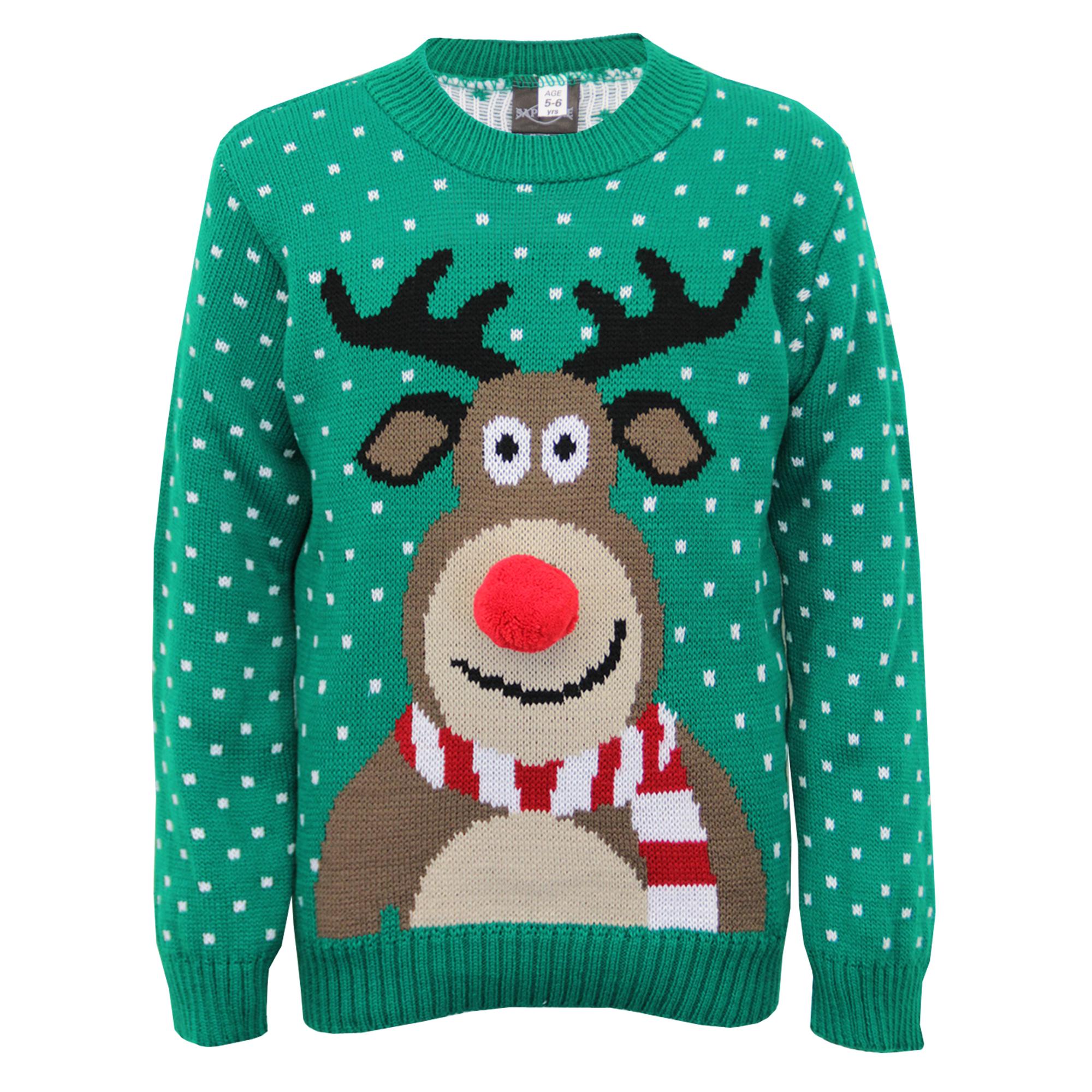boys christmas girls jumper xmas kids rudolph knitted pom. Black Bedroom Furniture Sets. Home Design Ideas