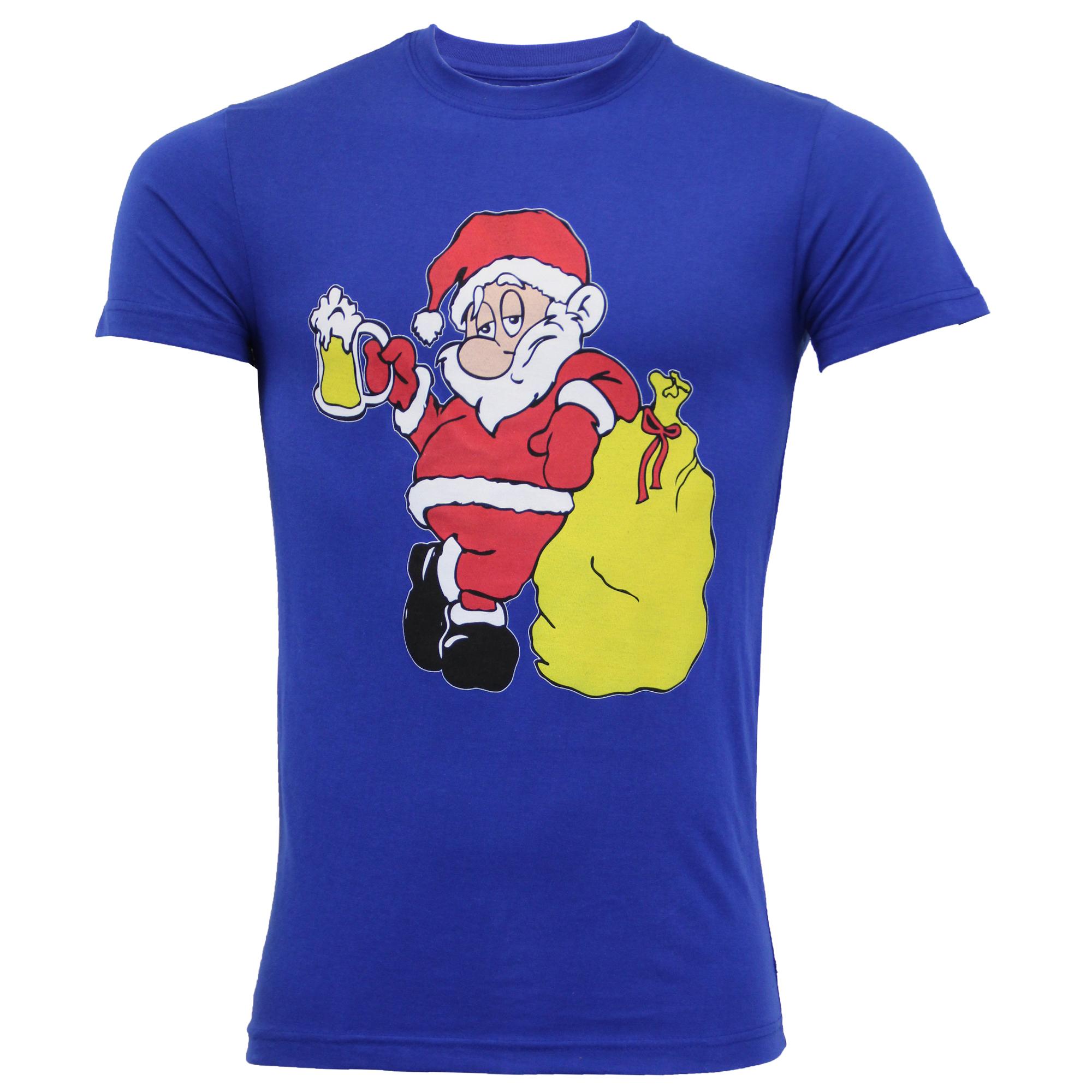 Mens Christmas T Shirt Xmas Santa Claus Novelty Cotton Fashion Festive Top New